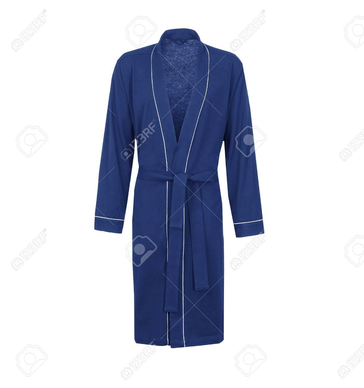 Blue Bathrobe Isolated Male Housecoat On White Background Stock Photo Picture And Royalty Free Image Image 104302521