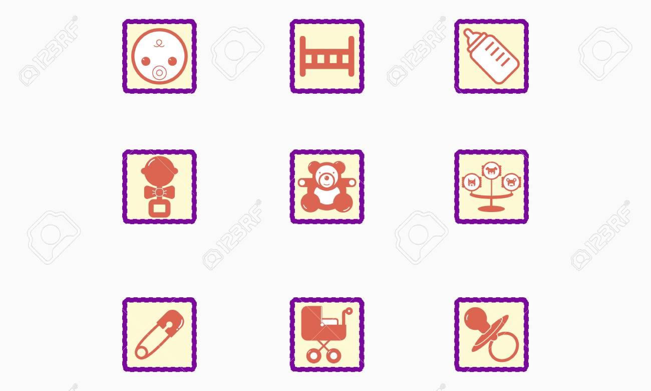 Set of children s icons Stock Vector - 20913056