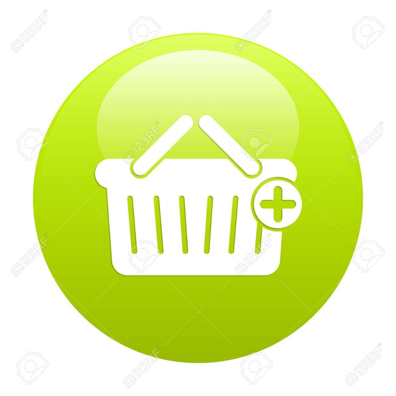 bouton internet panier icon green Stock Vector - 21448093