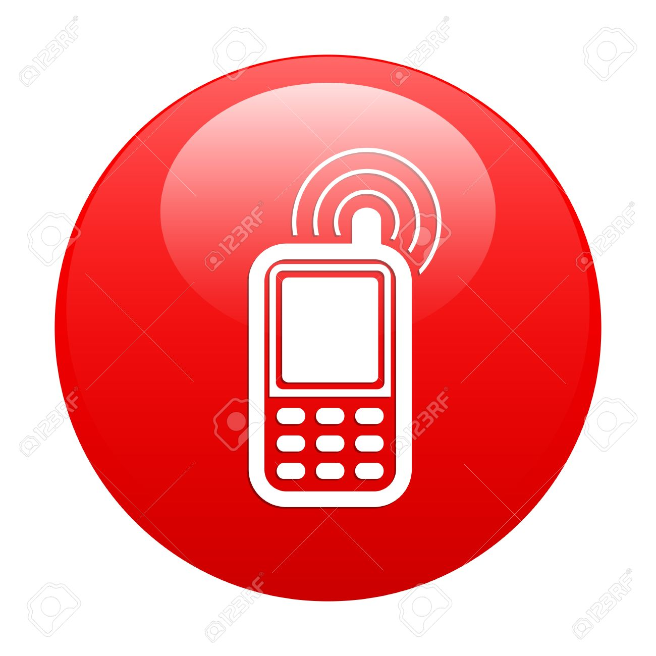 Button Cell Phone Icon Red Royalty Free Cliparts, Vetores, E IlustraçõesStock. Image 21635098.
