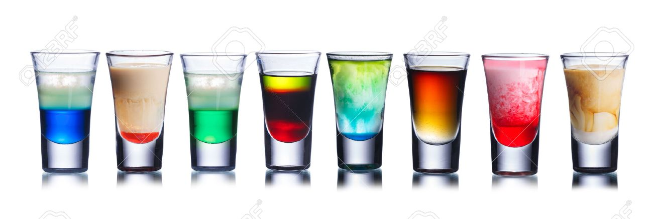 collection of alcoholic cocktails in shot glasses shots colorful