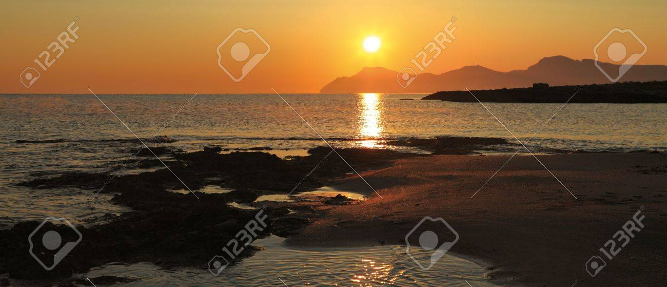 Morning landscape on the bank of a bay of Alkudija, near to Can Pikafort. View on cape Ferru. Majorca Stock Photo - 5286956