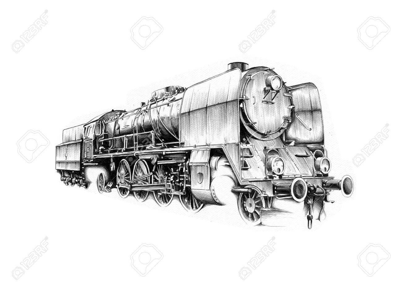 Moteur De Locomotive A Vapeur Vieux Dessin Vintage Retro Banque D