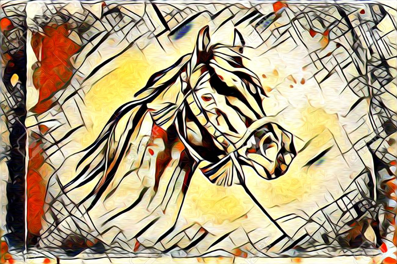 Original Oil Painting Of A Fine Arabian Horse Stock Photo Picture And Royalty Free Image Image 66497131