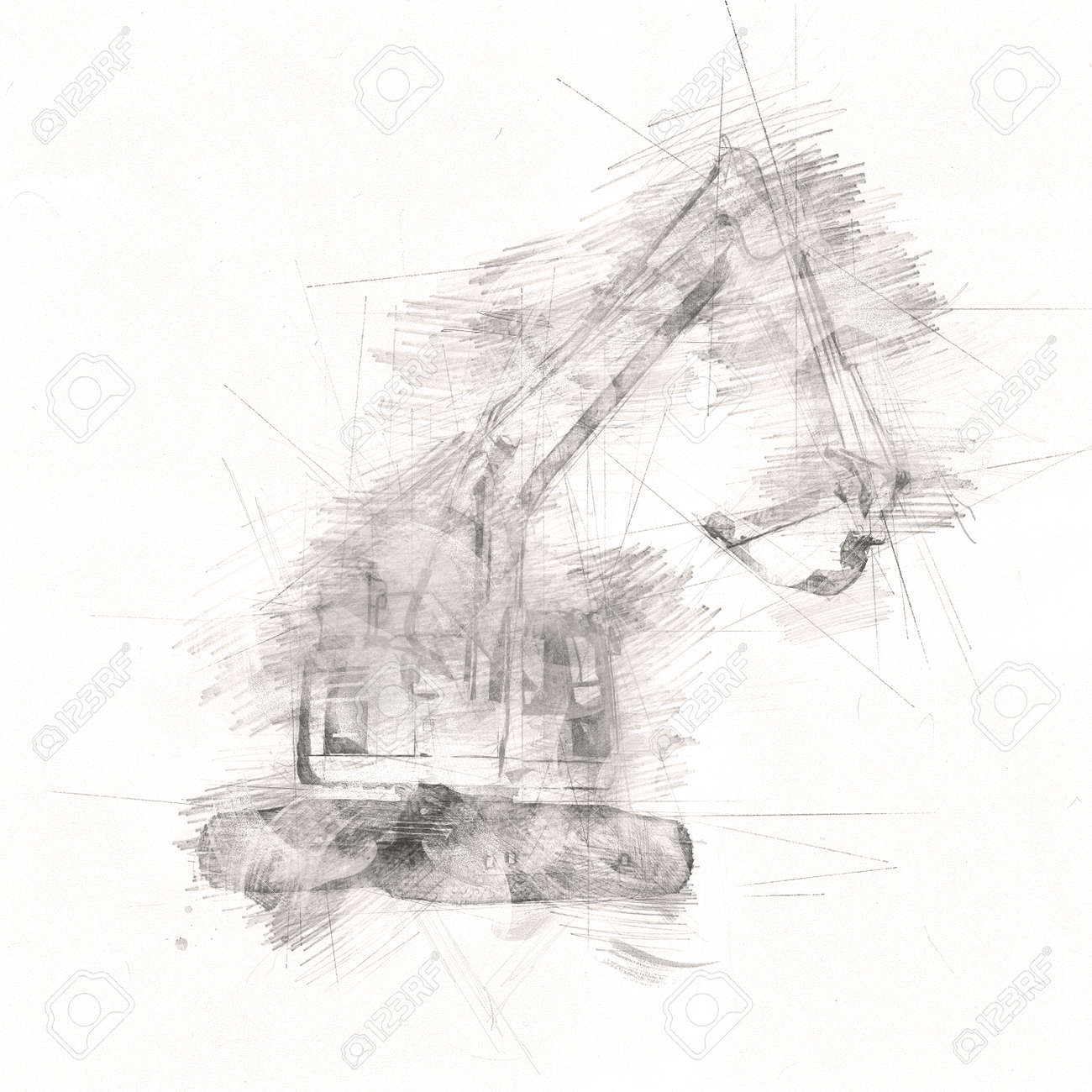 Excavator isolated art work - 143203890