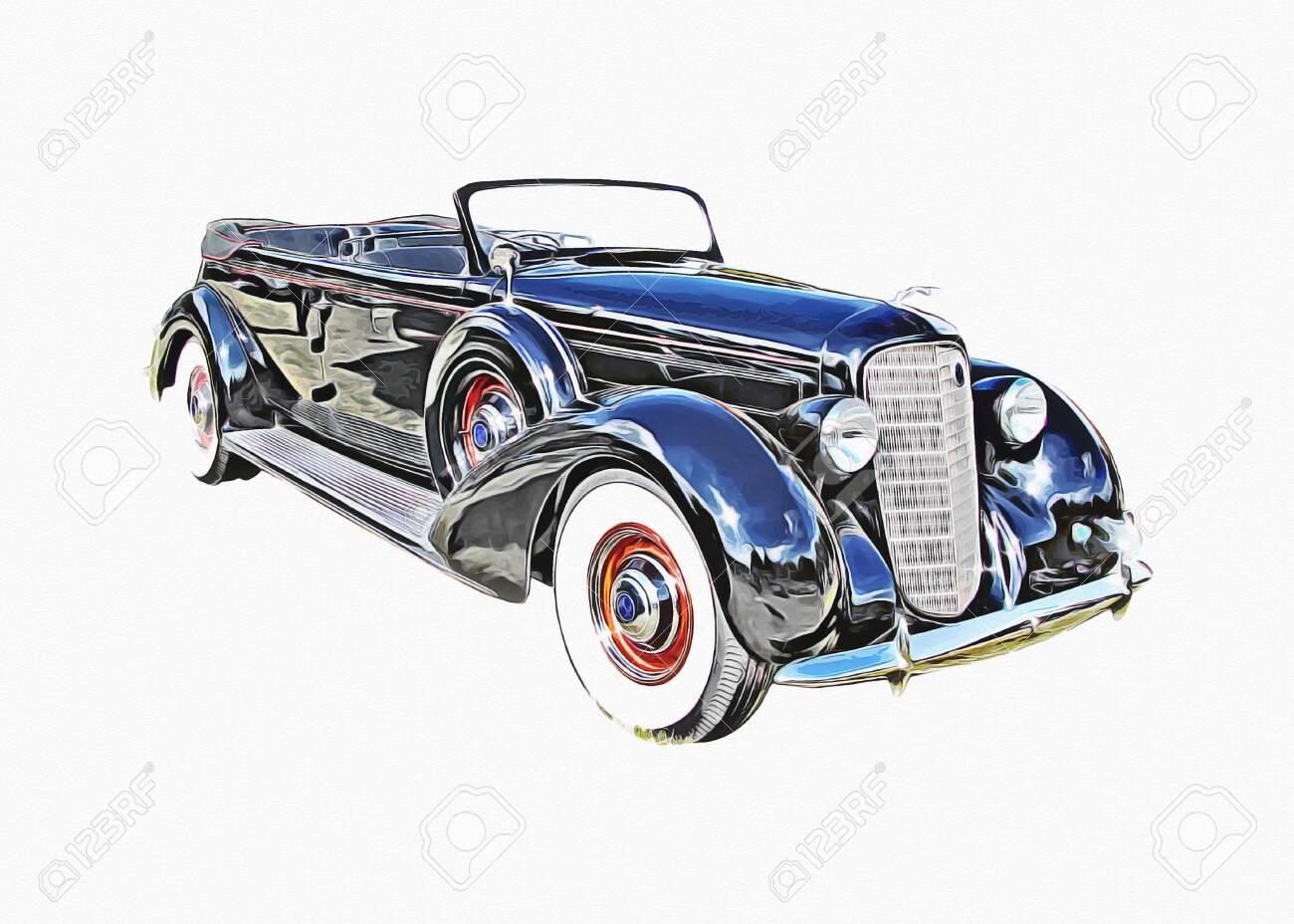 Vintage Retro Classic Old Car Illustration - 150691758