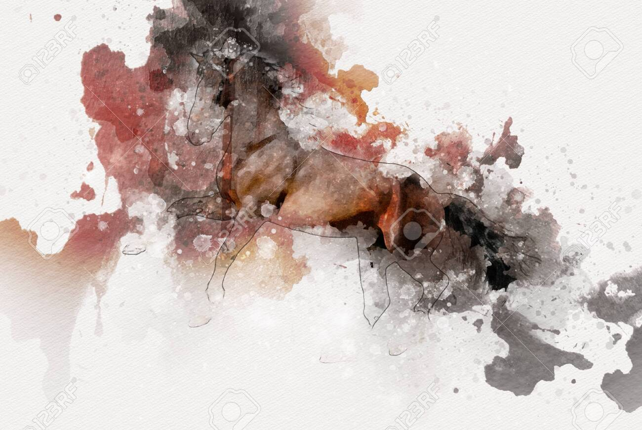 Colorful Horse Art Illustration Grunge Painting Stock Photo Picture And Royalty Free Image Image 151117593