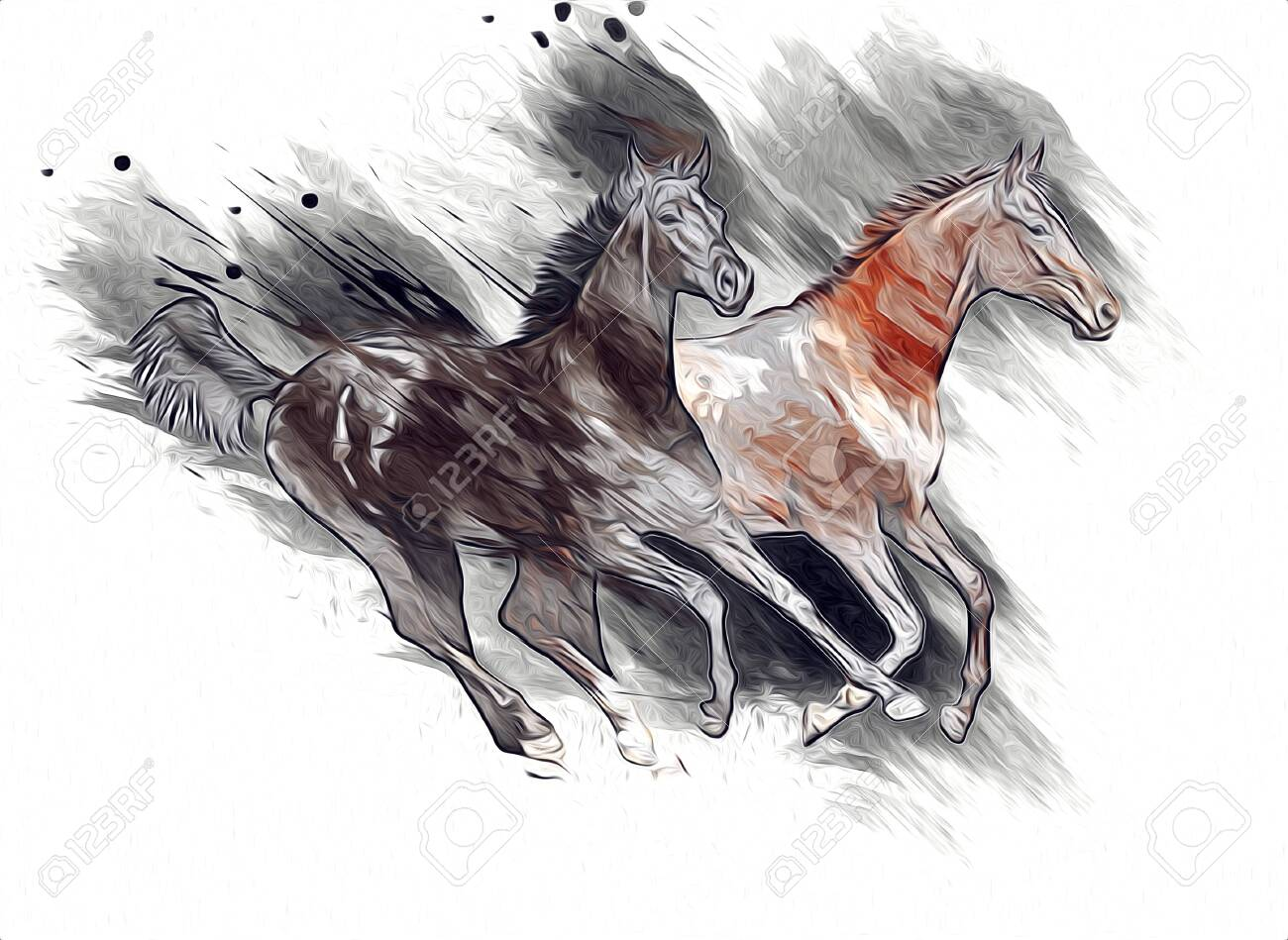 Colorful Horse Art Illustration Grunge Painting Stock Photo Picture And Royalty Free Image Image 151636489