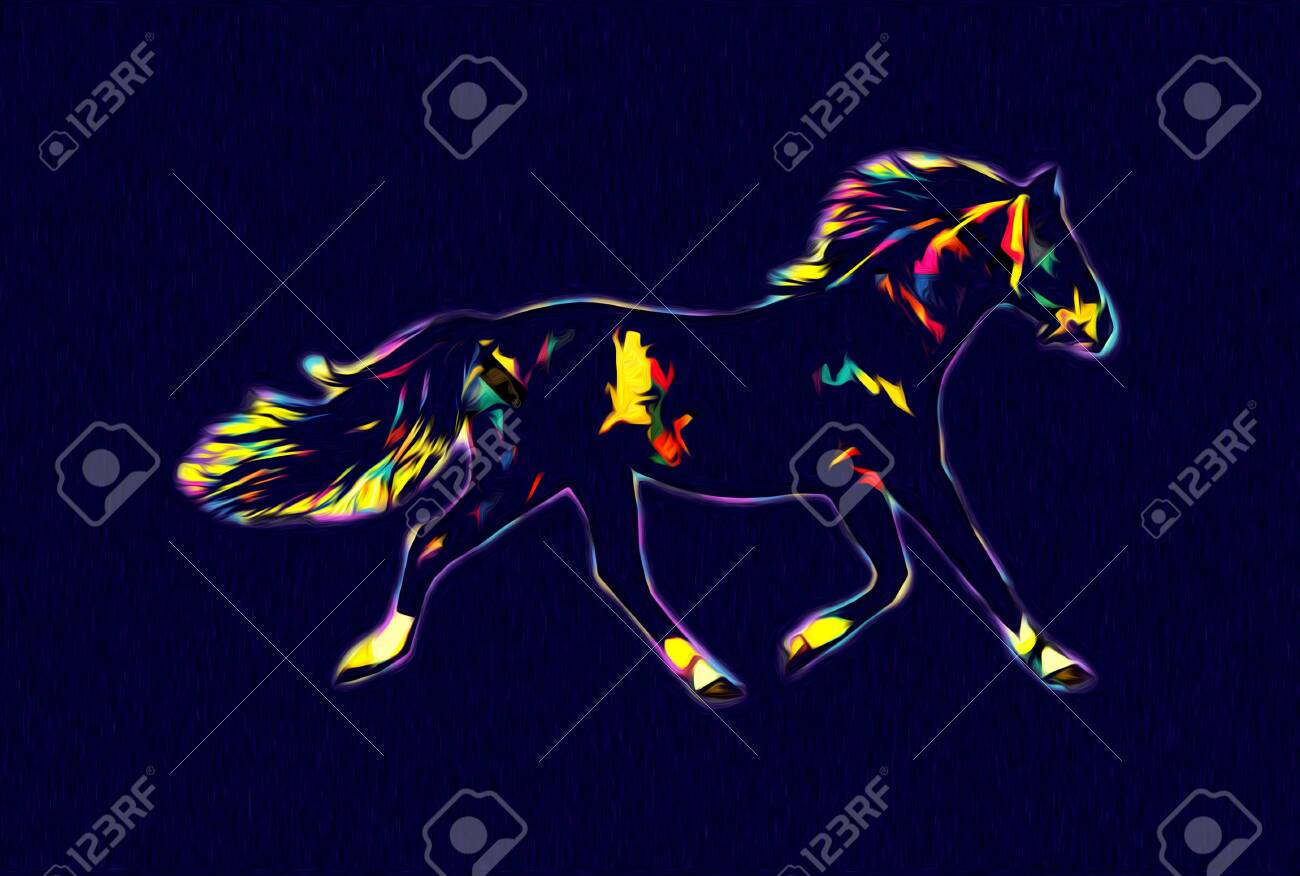 Colorful Horse Art Illustration Grunge Painting Stock Photo Picture And Royalty Free Image Image 152196228