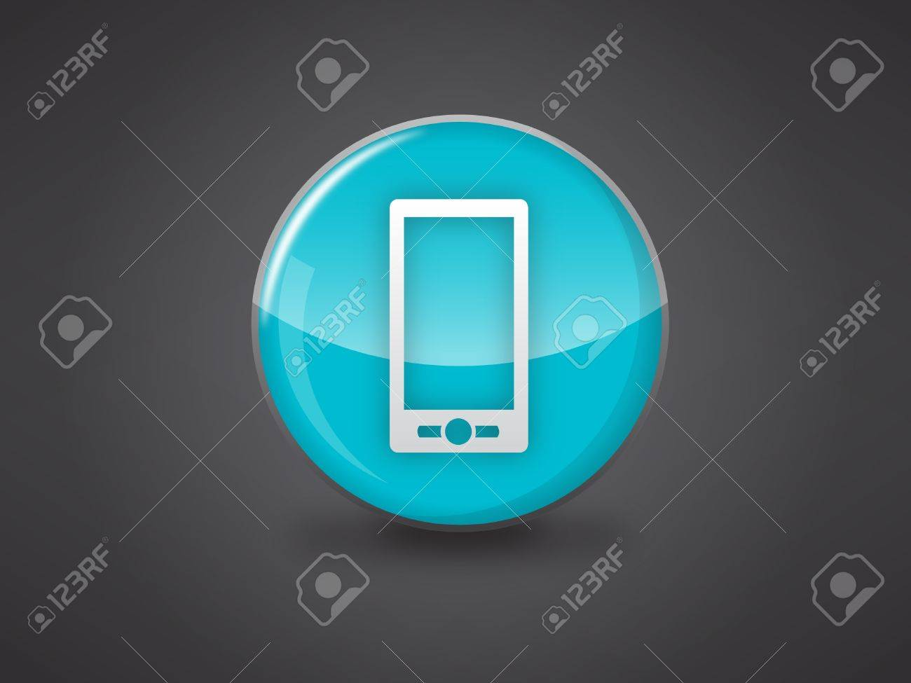 mobile phone icon on blue glossy circle vector illustration on dark grey background, this image available in jpeg and eps formats Stock Vector - 18512340