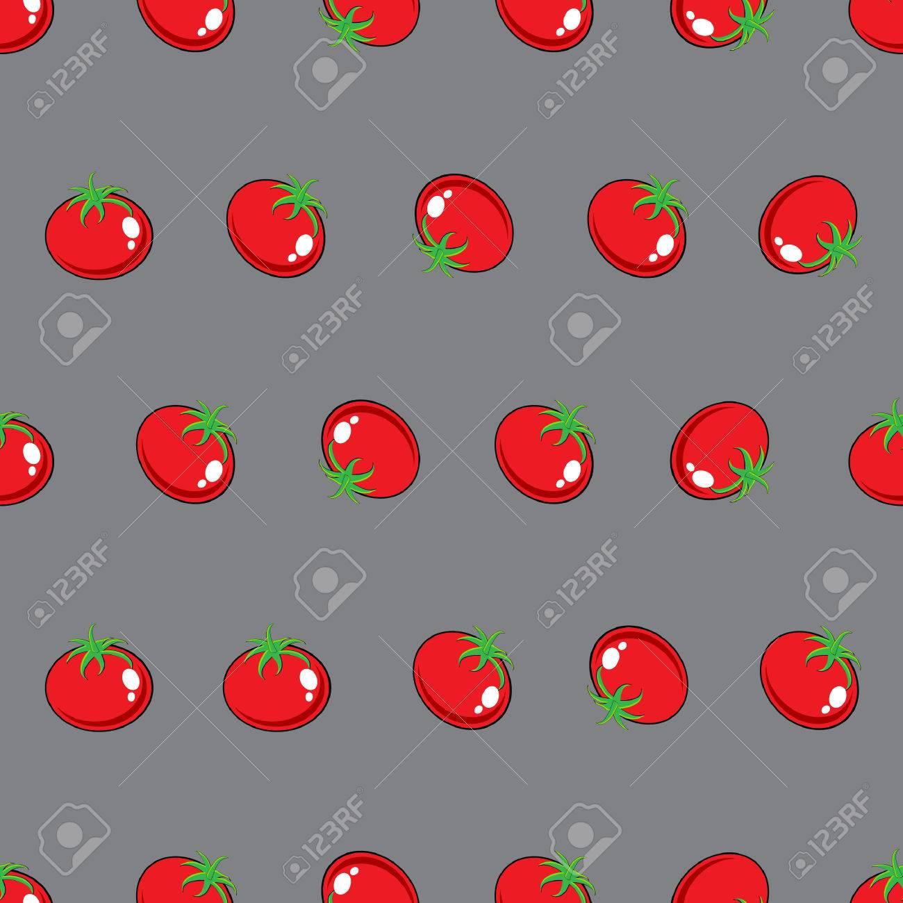 Image Vectorielle Modele De Tomate Rouge Sur Fond Gris Pour Papier