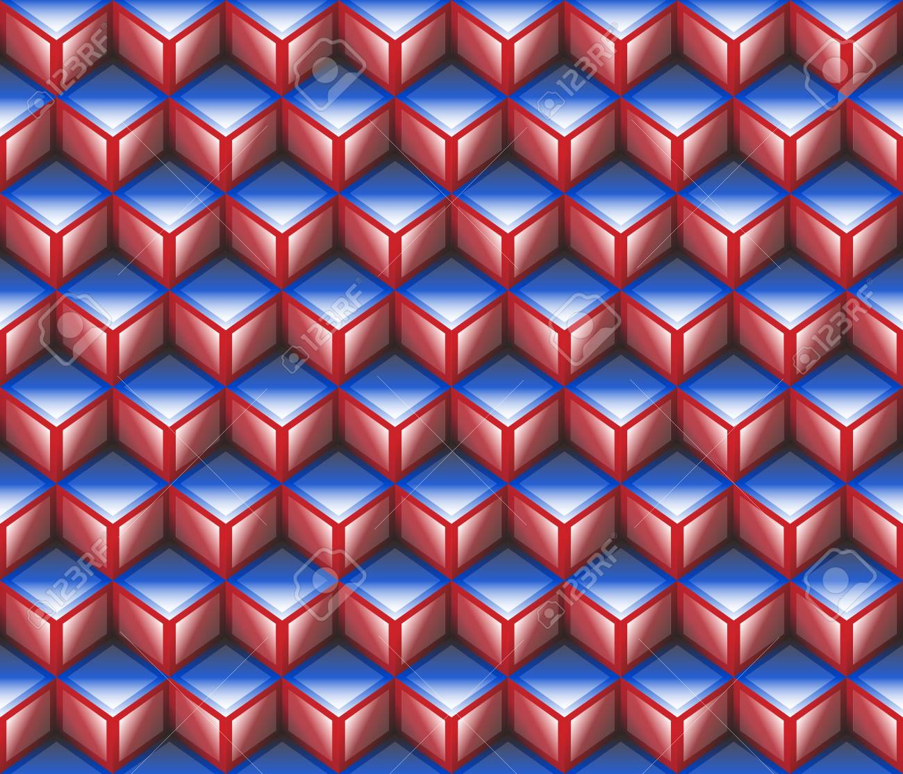 Red Blue 3d Cubes Contour Abstract Geometrical Seamless Pattern