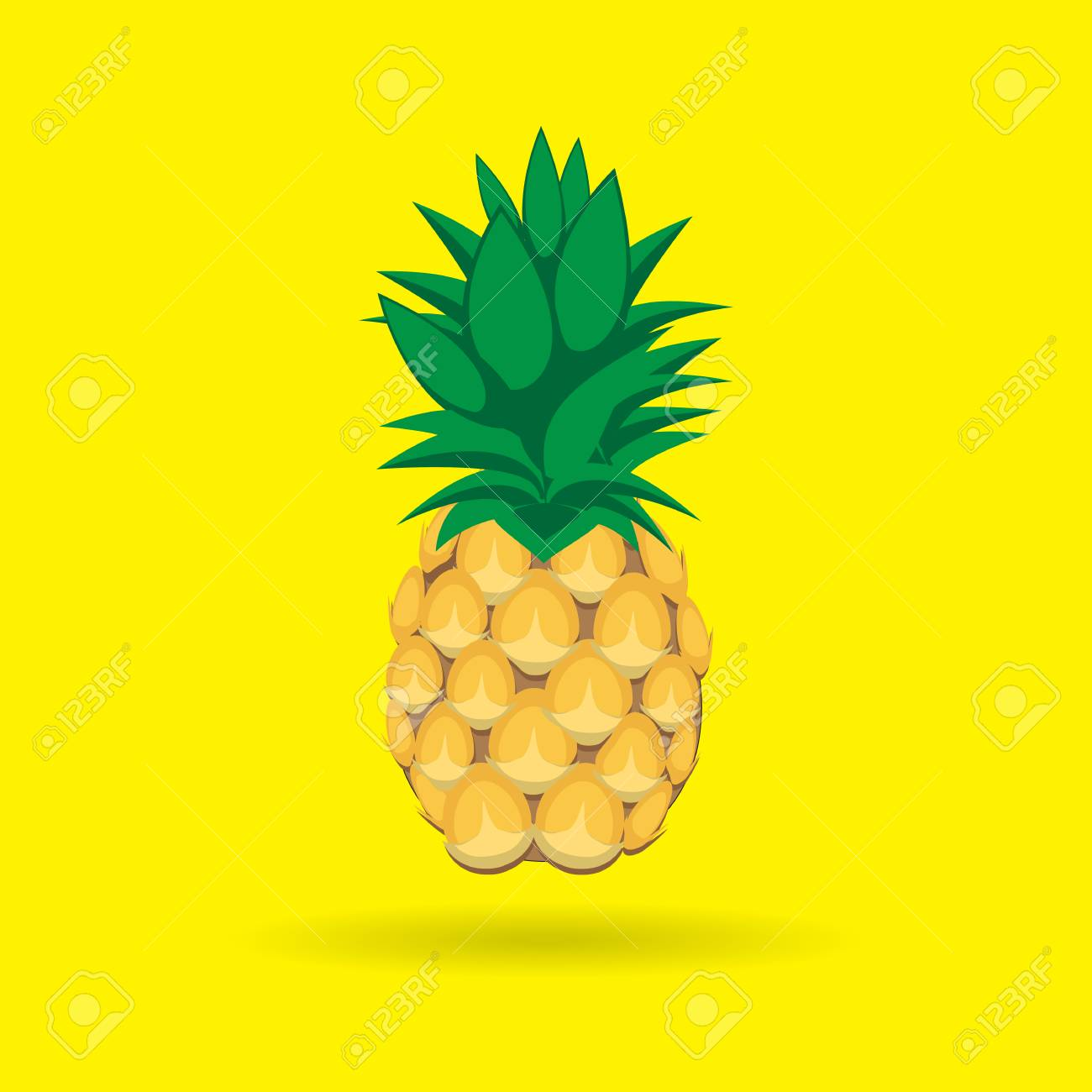 91992178 pineapple fruit contour abstract seamless pattern on yellow background for wallpaper pattern web blo