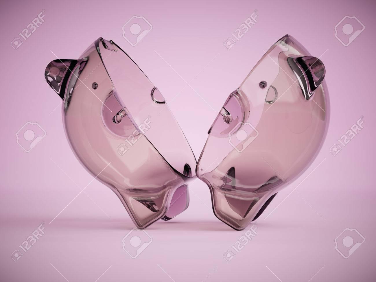 Transparente Glas-Sparschwein In Zwei Hälften Geschnitten 3D ...