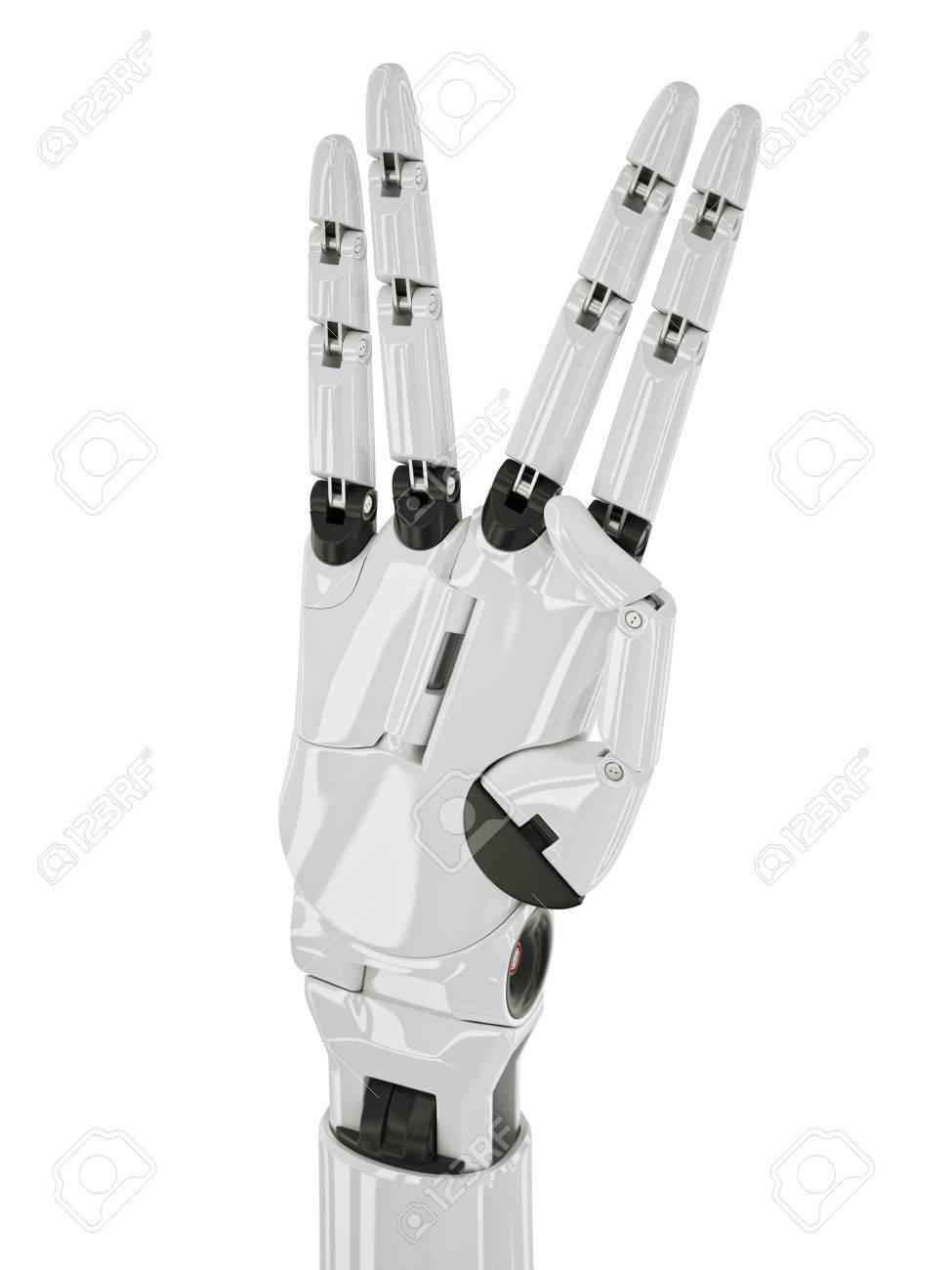 45fd3882e112 Banque d images - Robot Gestes longue vie et prospérité Concept  Illustration 3d isolé sur blanc