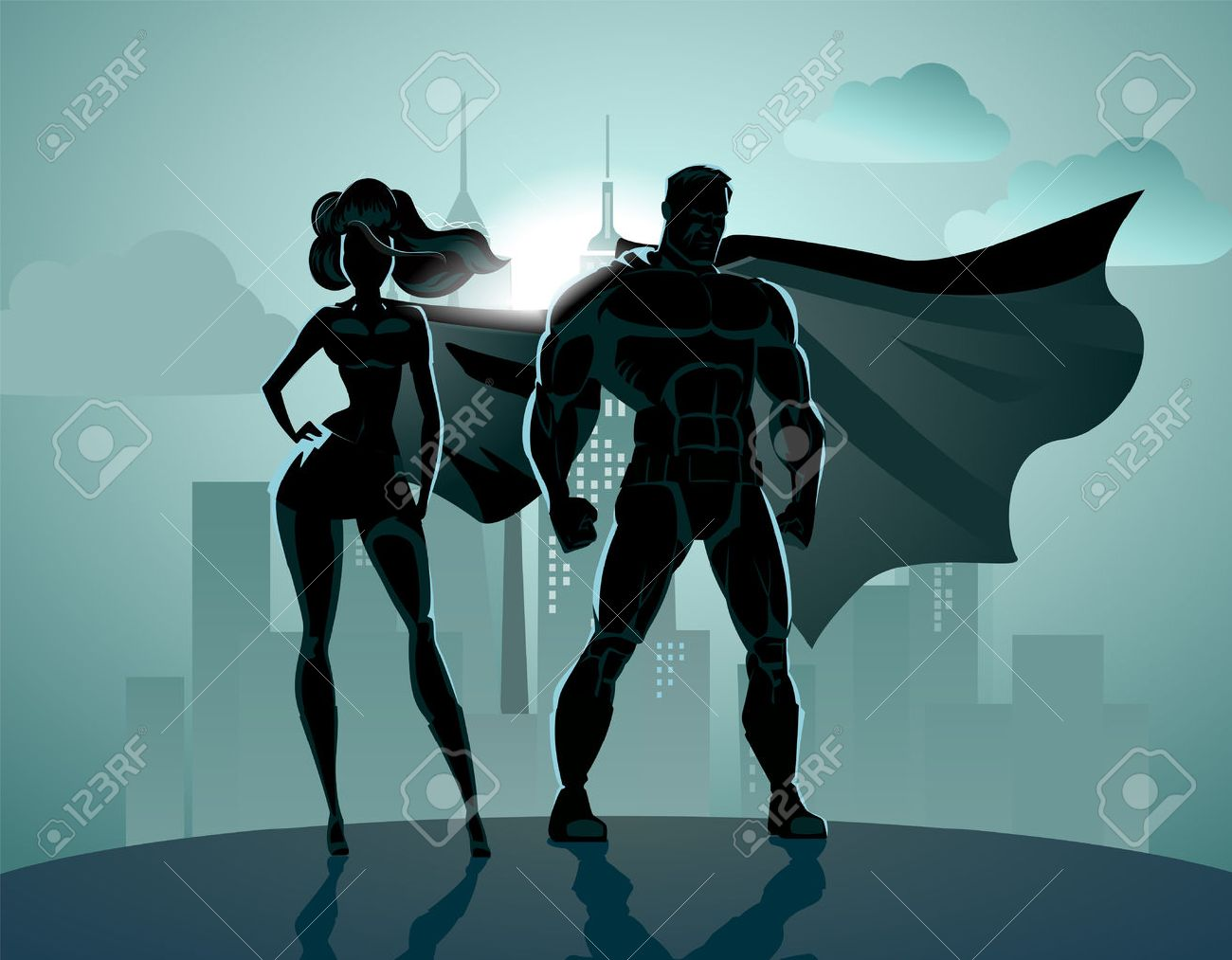Superhero Couple: Male and female superheroes, posing in front of a light. City background. - 36953260