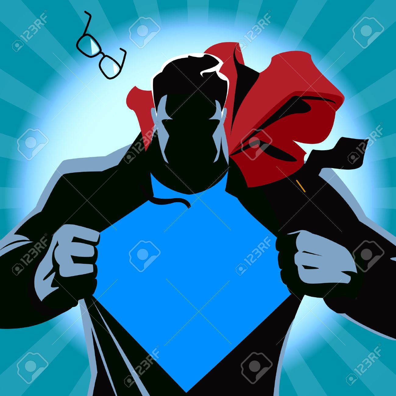 Superman tearing his shirt. Vector illustration. Silhouette - 41360714