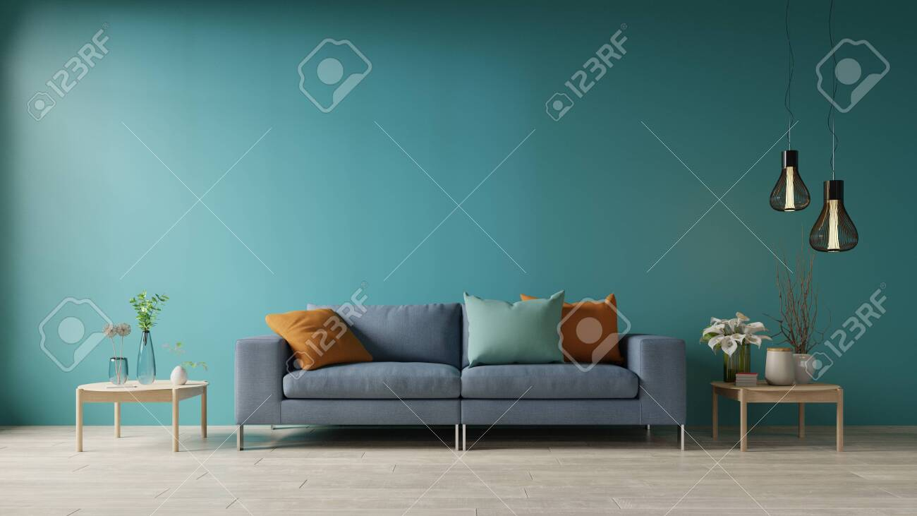 Blue living room with sofa and table,3d rendering - 150165923