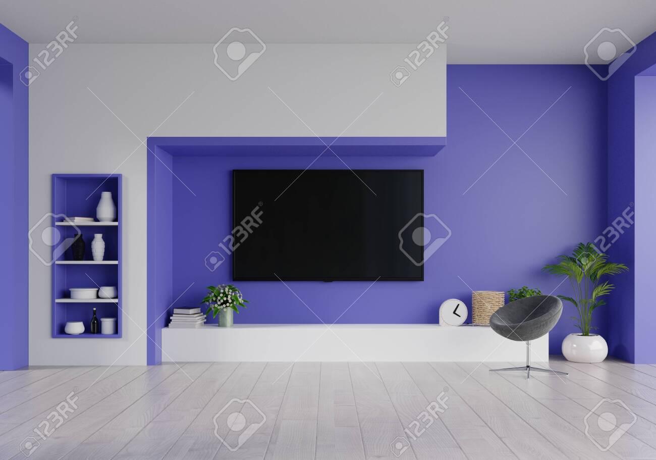 LED TV on the phantom blue wall in living room,minimal design,3d rendering - 150225602