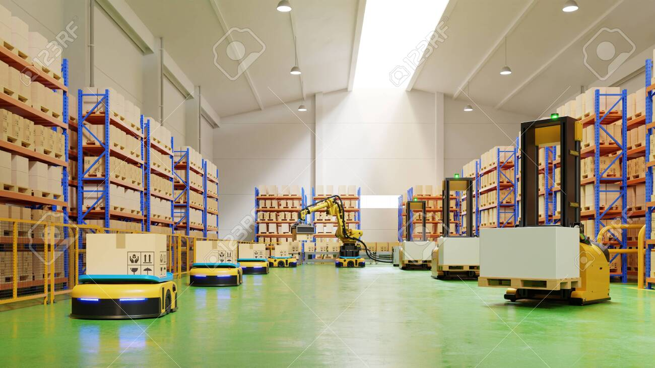 AGV Forklift Trucks-Transport More with Safety in warehouse,3D rendering - 151324481