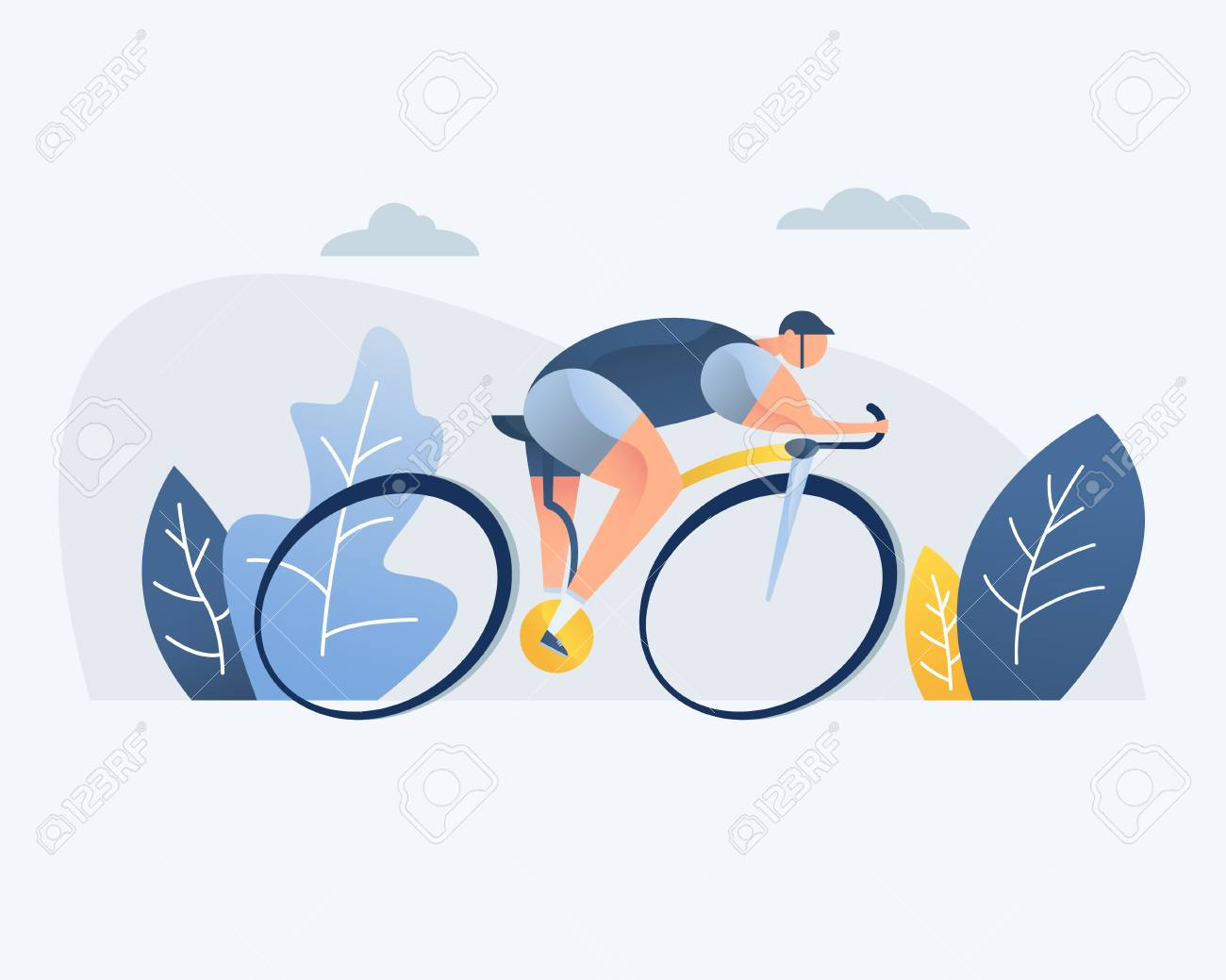 Bike riding man, vector illustration. Park, forest, trees and hills in the background. Banner, site, poster, template for a site. - 125964089