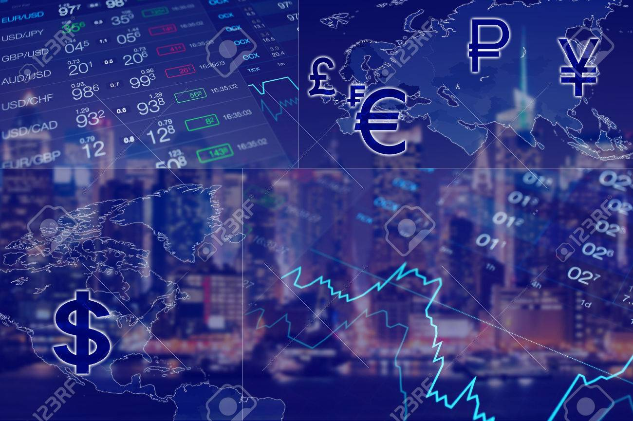 Global business collage abstract blue finance background world abstract blue finance background world map forex data and chart nvjuhfo Gallery