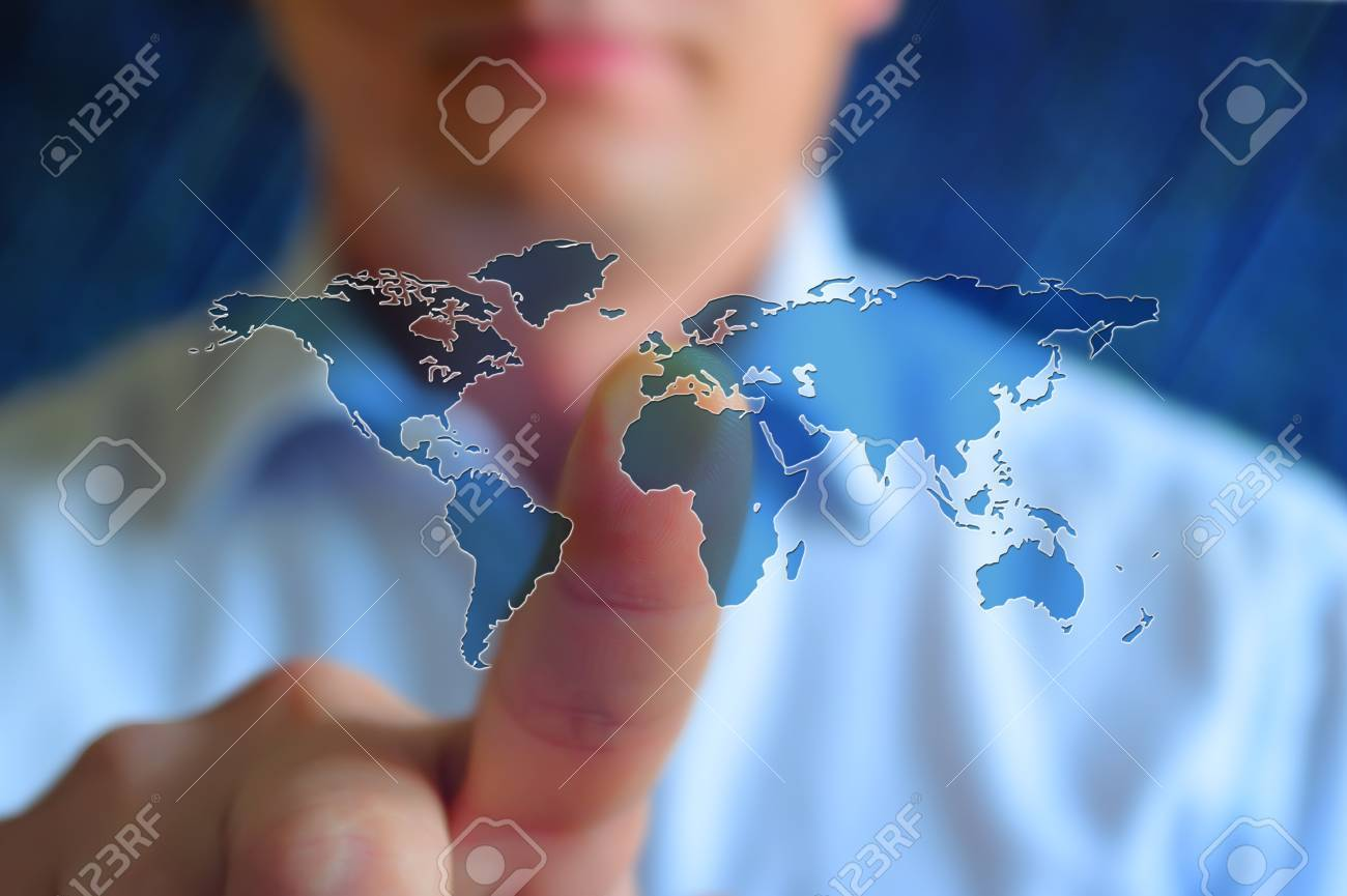 World map concept image person touch virtual screen with world simple blue world map finger toucing screen colourfull world map conceptual world map world map background world map wallpaper gumiabroncs Gallery