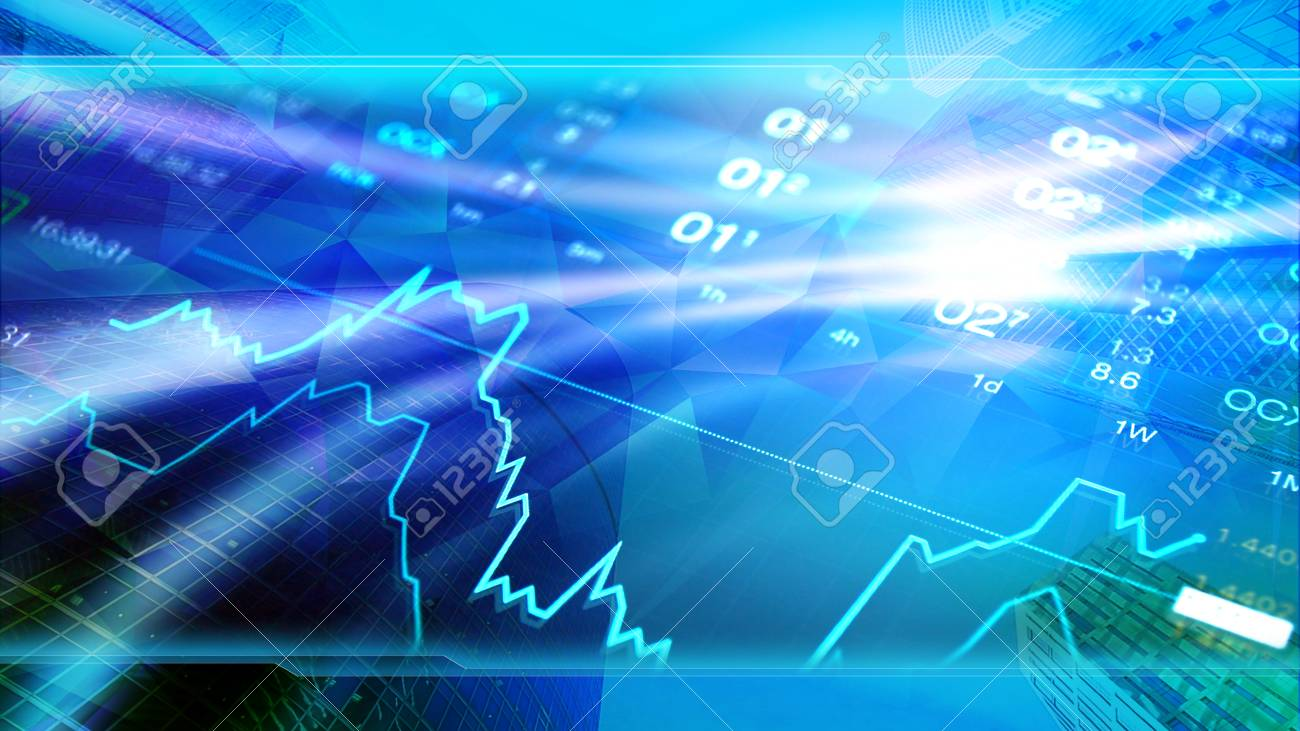 金融 ビジネス 経済 投資壁紙 企業の青いデザインの背景 金融ニュースのためのヘッダー画像 の写真素材 画像素材 Image