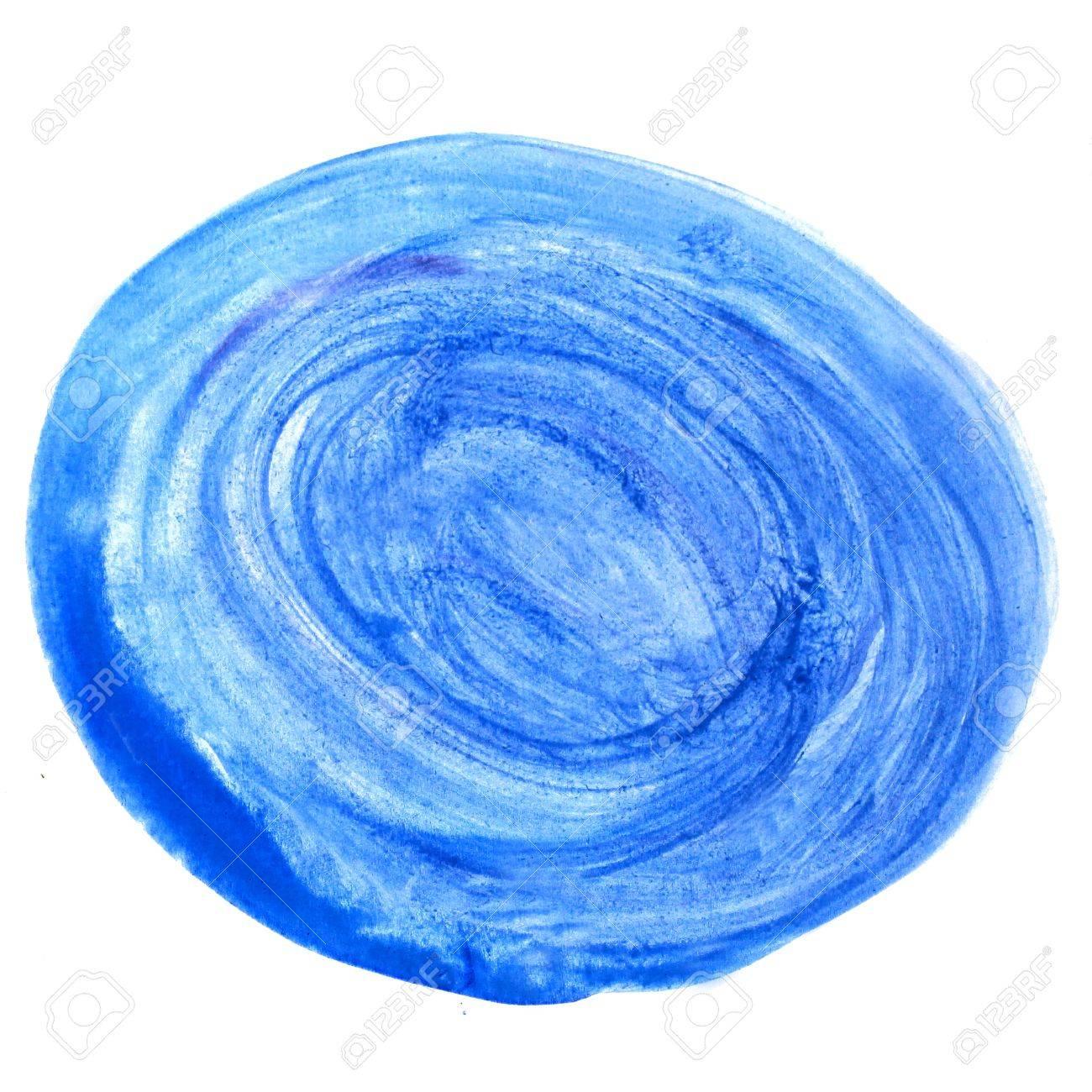 Bleu Aquarelle Peinture Aquarelle Course Cercle Brosse Couleur D