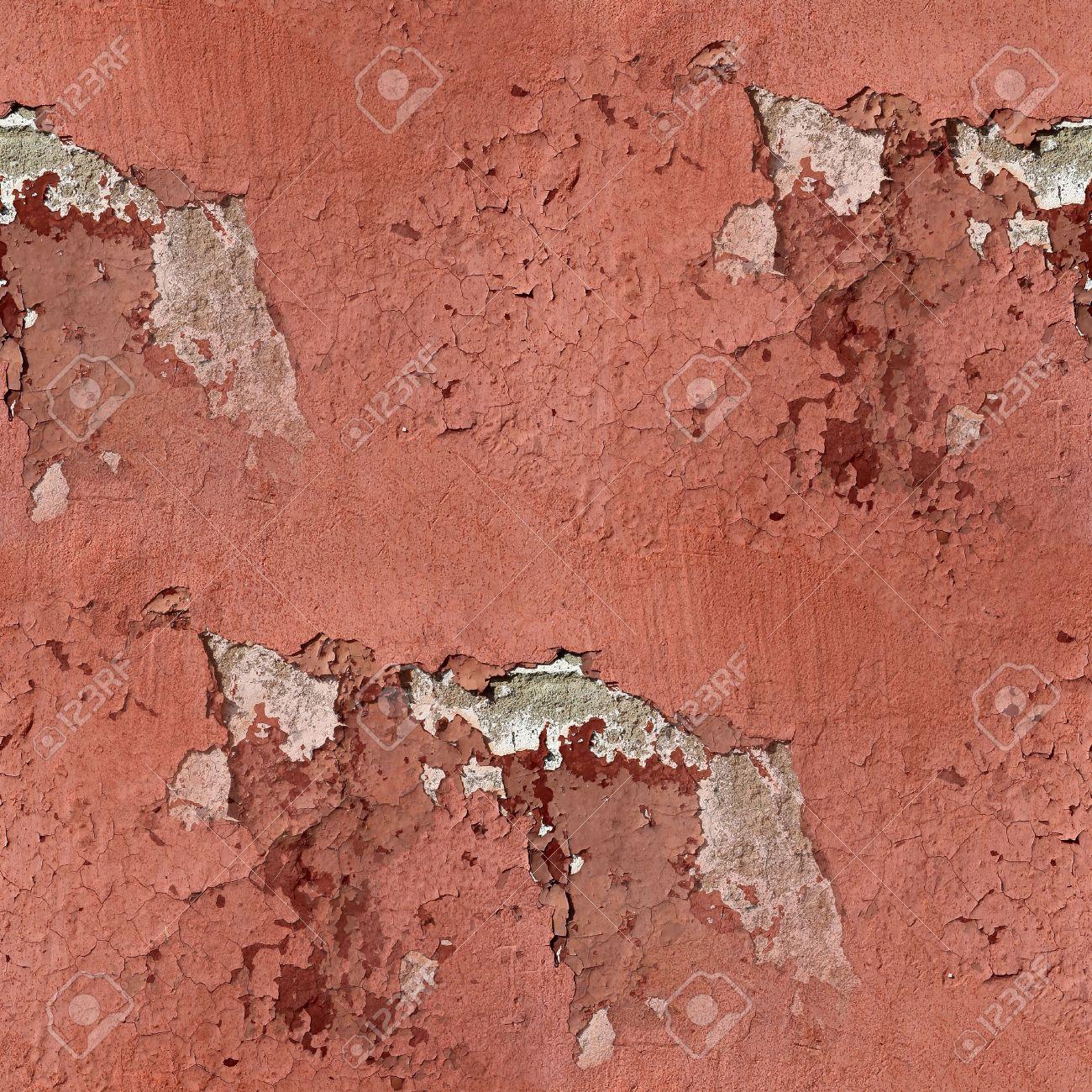 Rouge Mur De Plâtre Se Fissure Peinture Papier Peint Sans Soudure