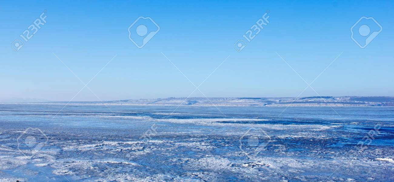Russia River Volga winter ice landscape Stock Photo - 16867131
