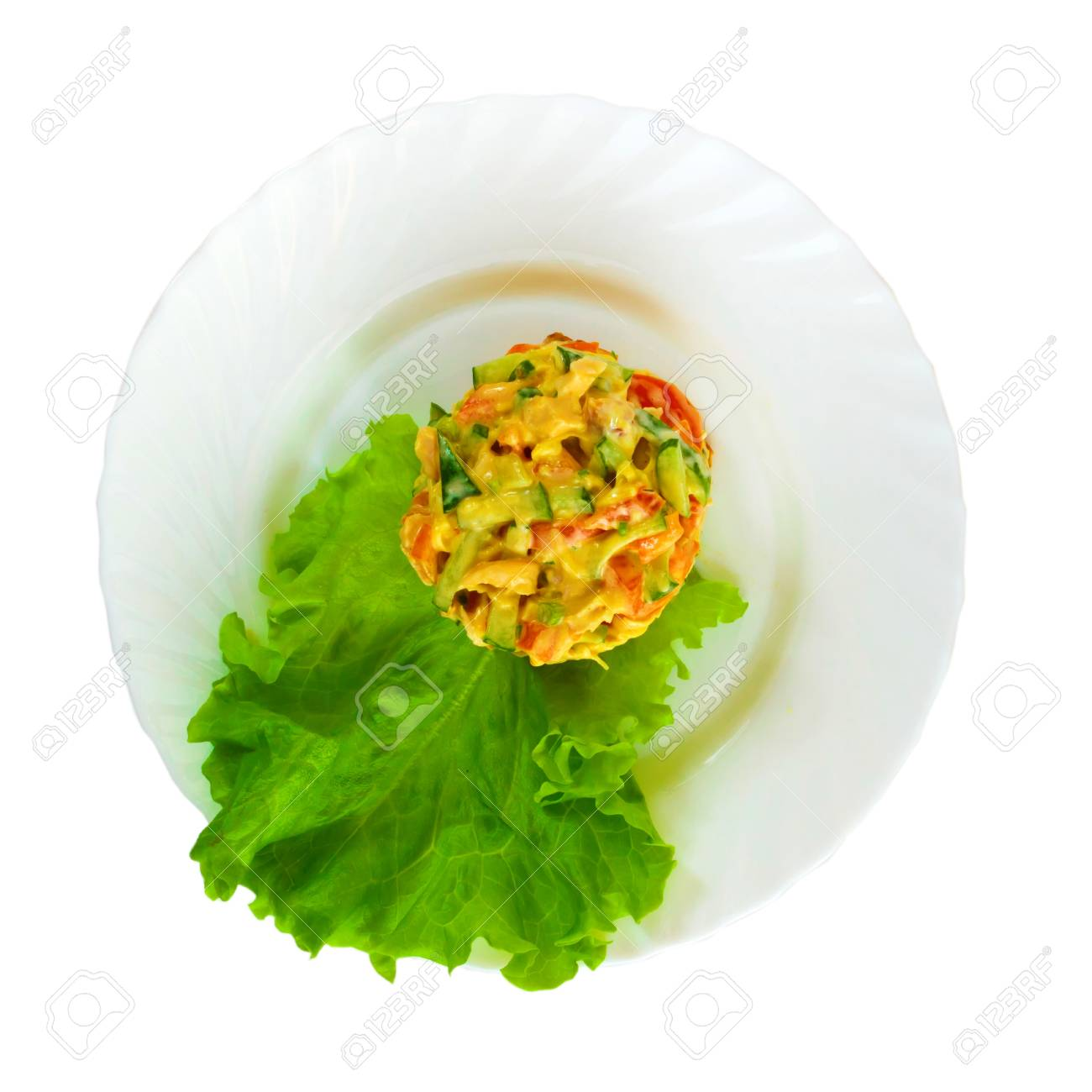 Salad of fresh cucumbers and tomatoes chicken fresh spinach, green leaf on white background  (clipping path) Stock Photo - 16862981