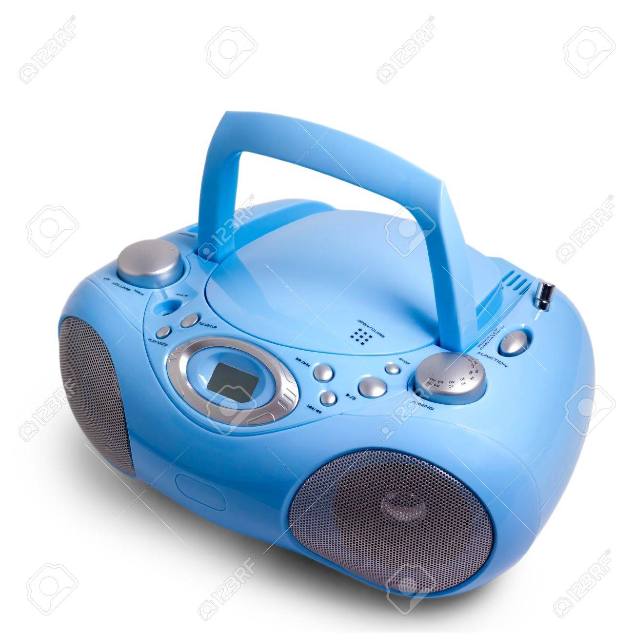 stereo blue radio boom box recorder CD mp3 isolated Stock Photo - 16874884