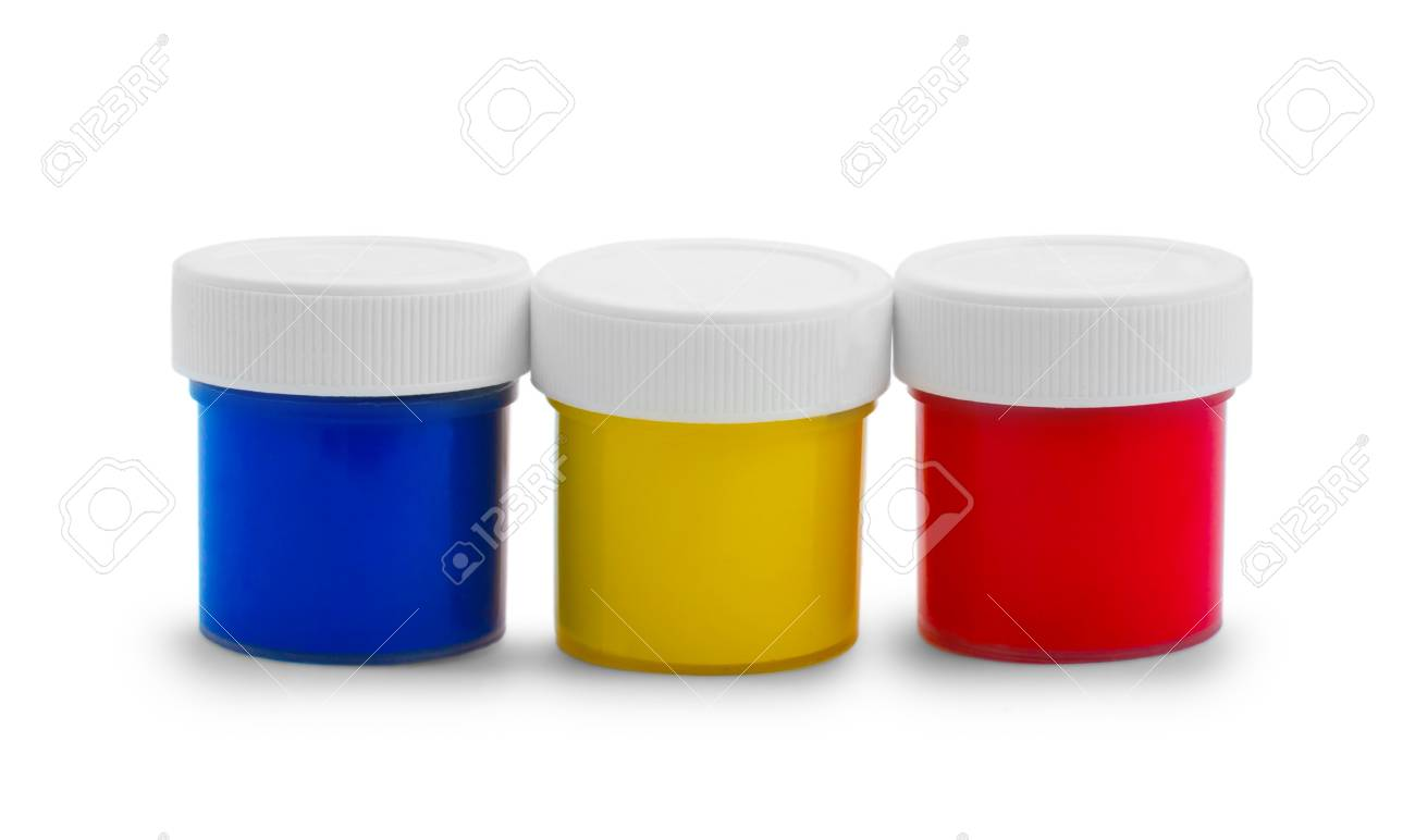 banks color oil paint bottles isolated on white background Stock Photo - 16868637