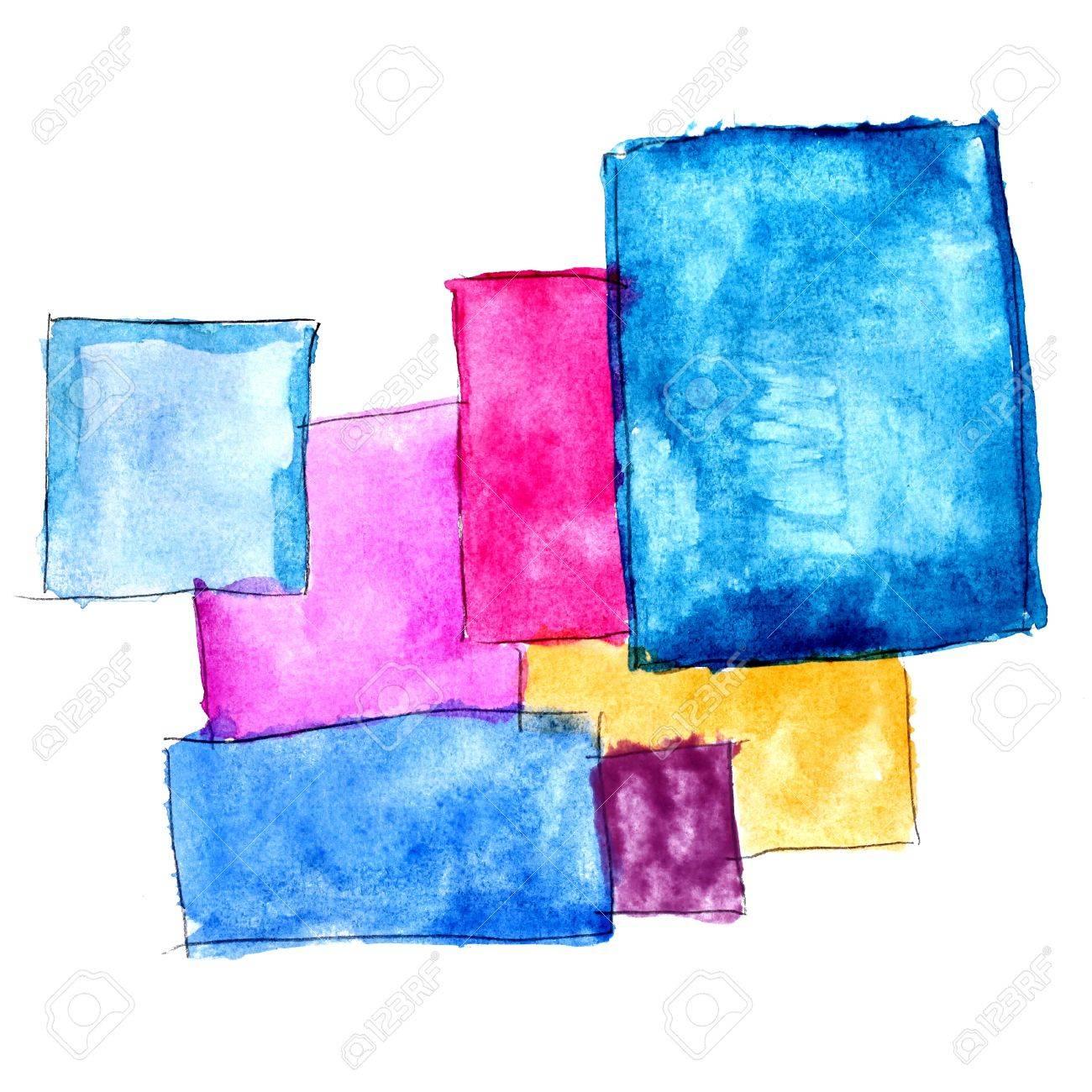 Peindre Texture Brosse Carré Bleu Jaune Rouge Aquarelle Tache