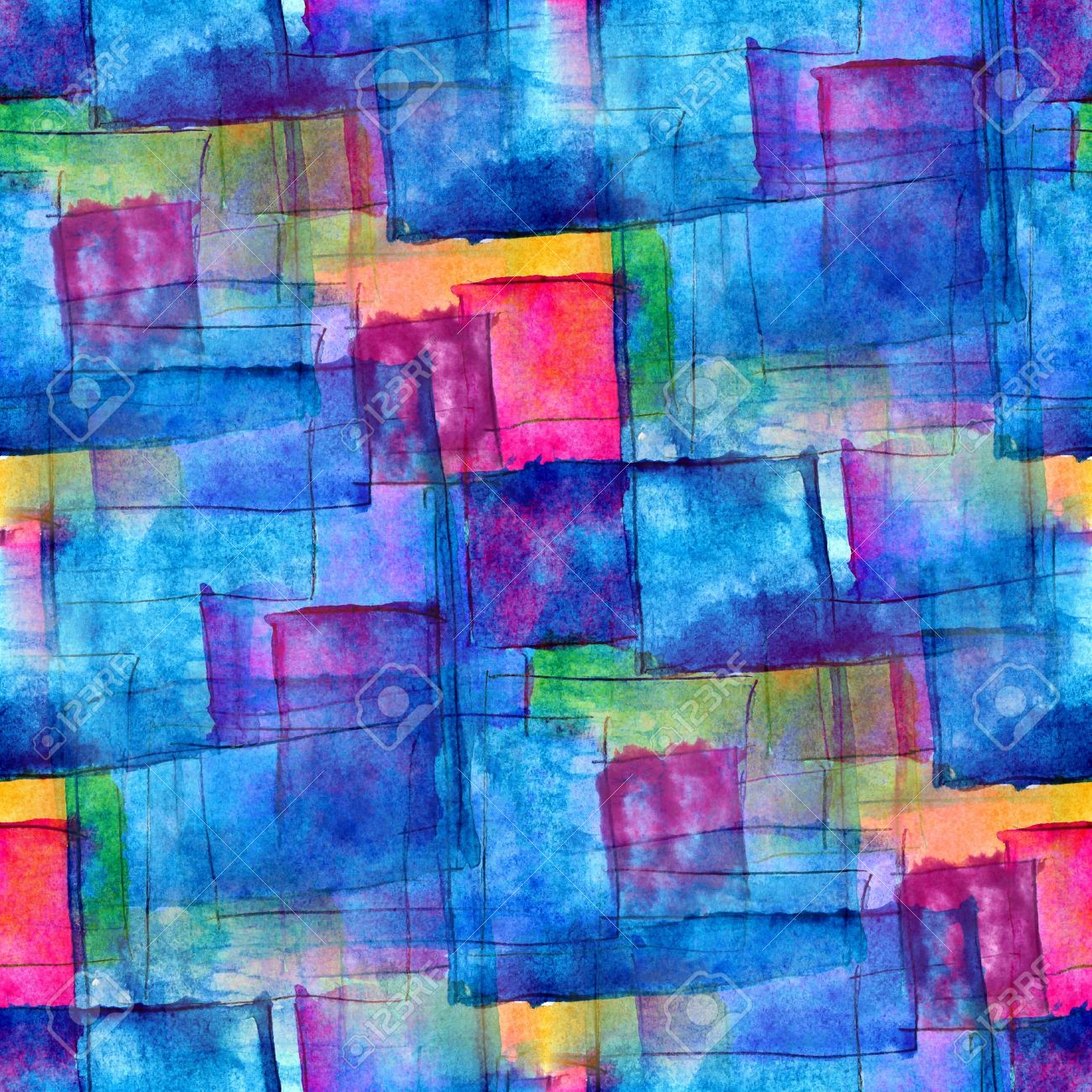 Seamless Blue Cubism Abstract Art Texture Watercolor Wallpaper Background Stock Photo