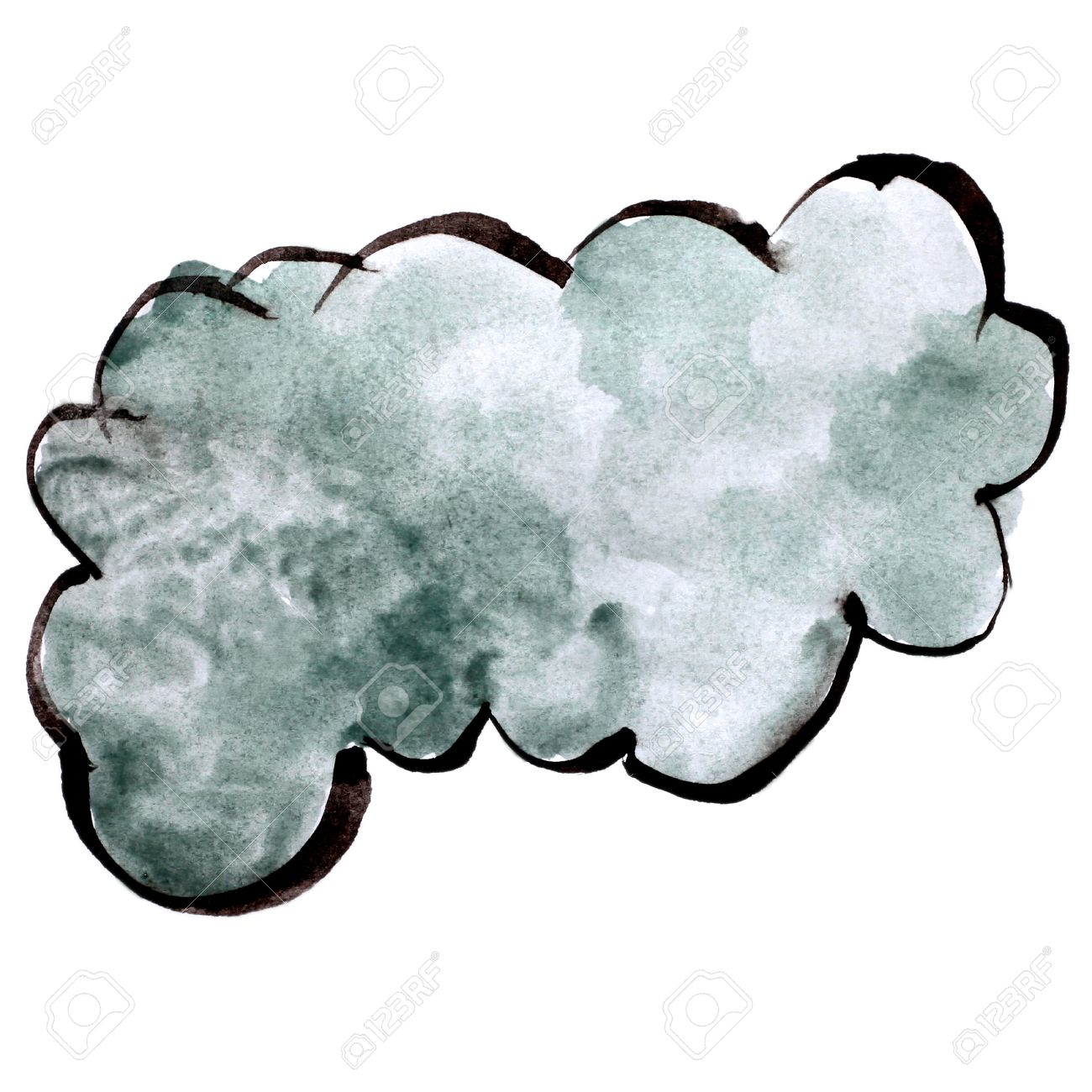 stroke cloud gray paint brush color watercolor isolated on white