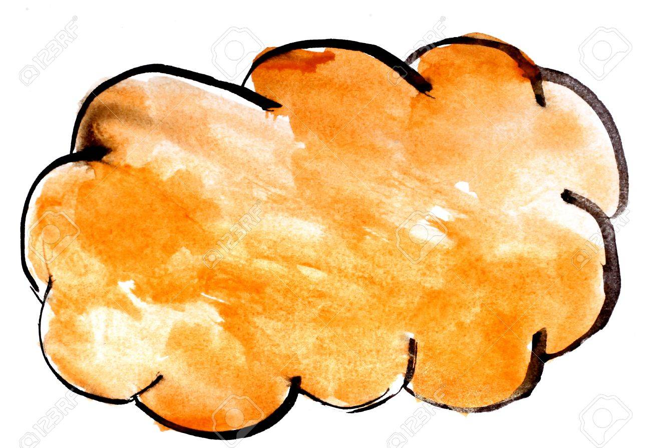 stroke yellow cloud paint brush color watercolor isolated on stock