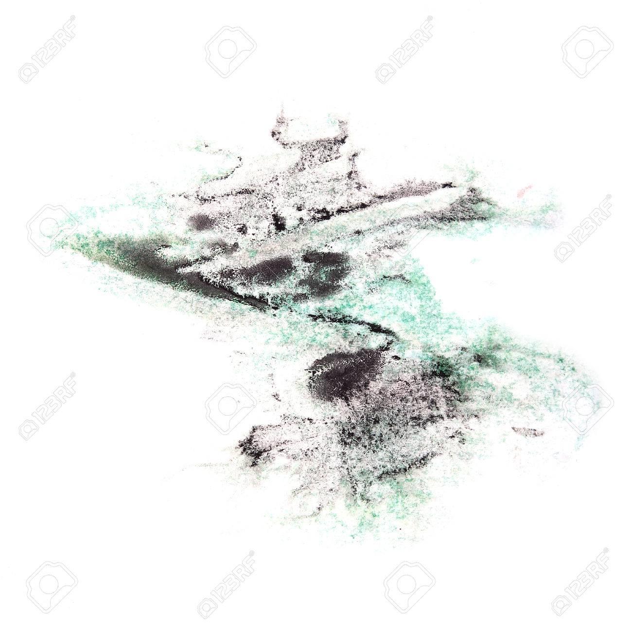 Peinture Violet, Vert, éclaboussure Noir Tache D\'encre Spot Blob De ...