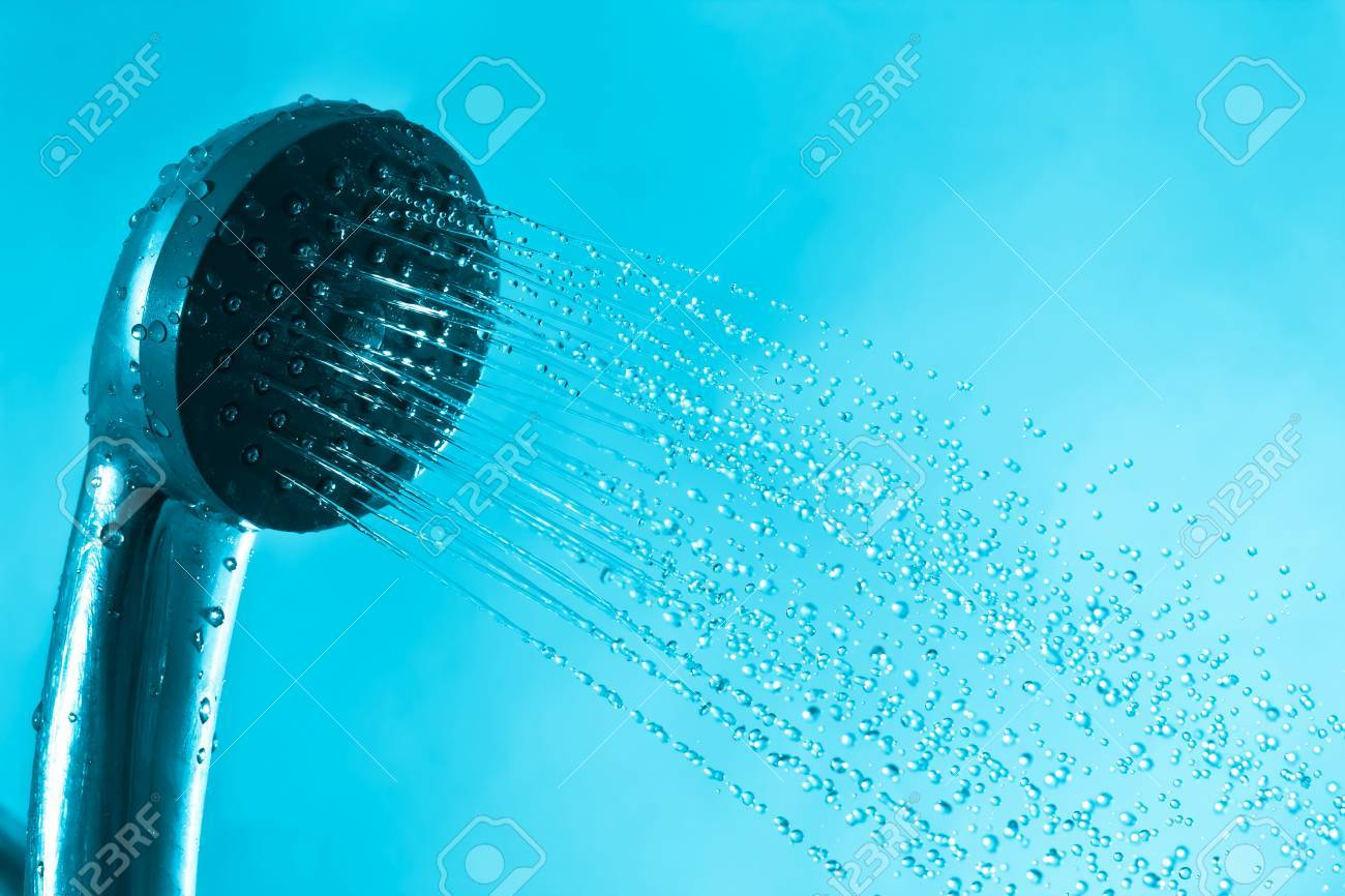 Splash Fresh Bath Shower And Current Blue Water Stock Photo, Picture ...