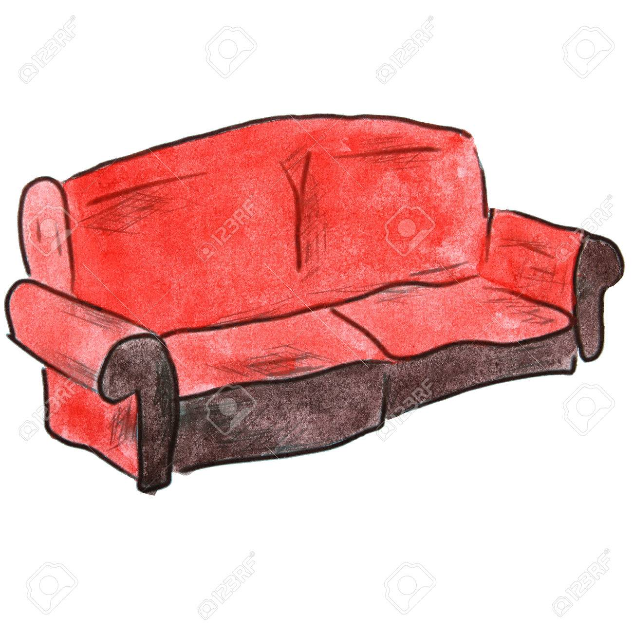 Watercolor Cartoon Drawing Red Sofa Isolated On White Background