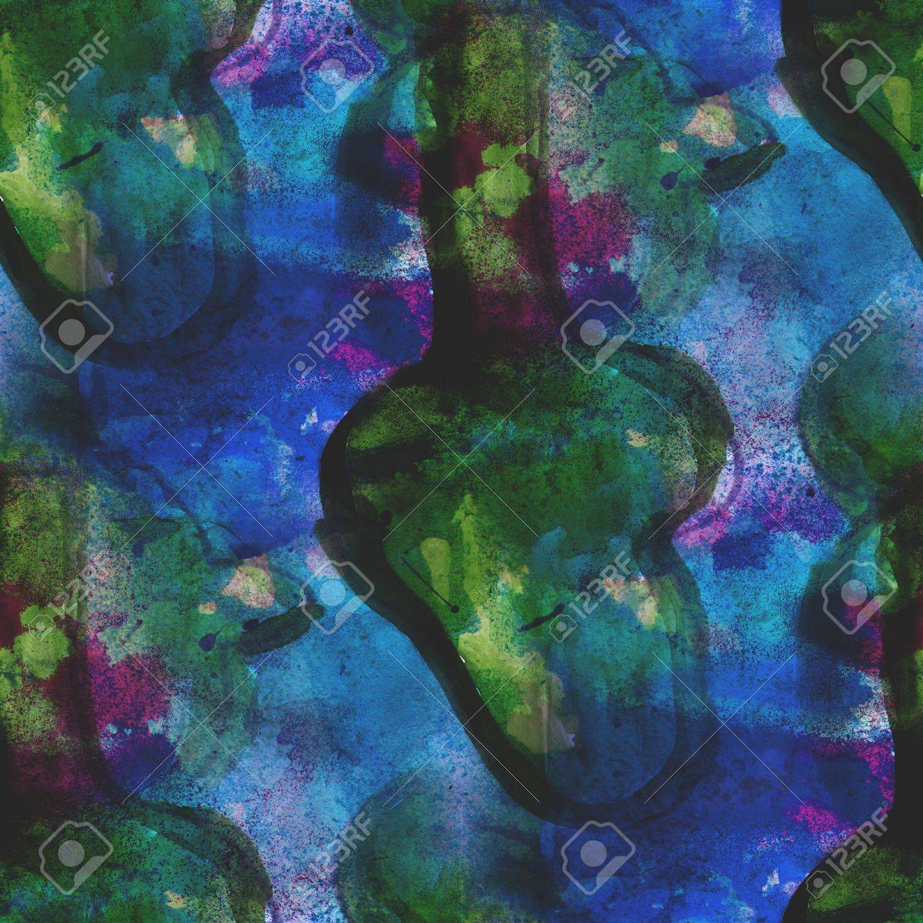Blue Green Seamless Cubism Abstract Art Picasso Texture Watercolor Wallpaper Background Stock Photo