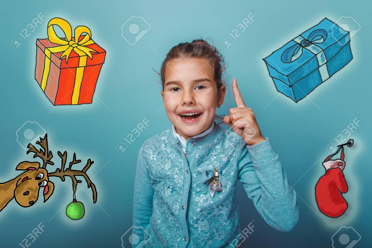 Weihnachten Mädchen Teenager Hob Den Daumen Nach Oben Von Hinten ...