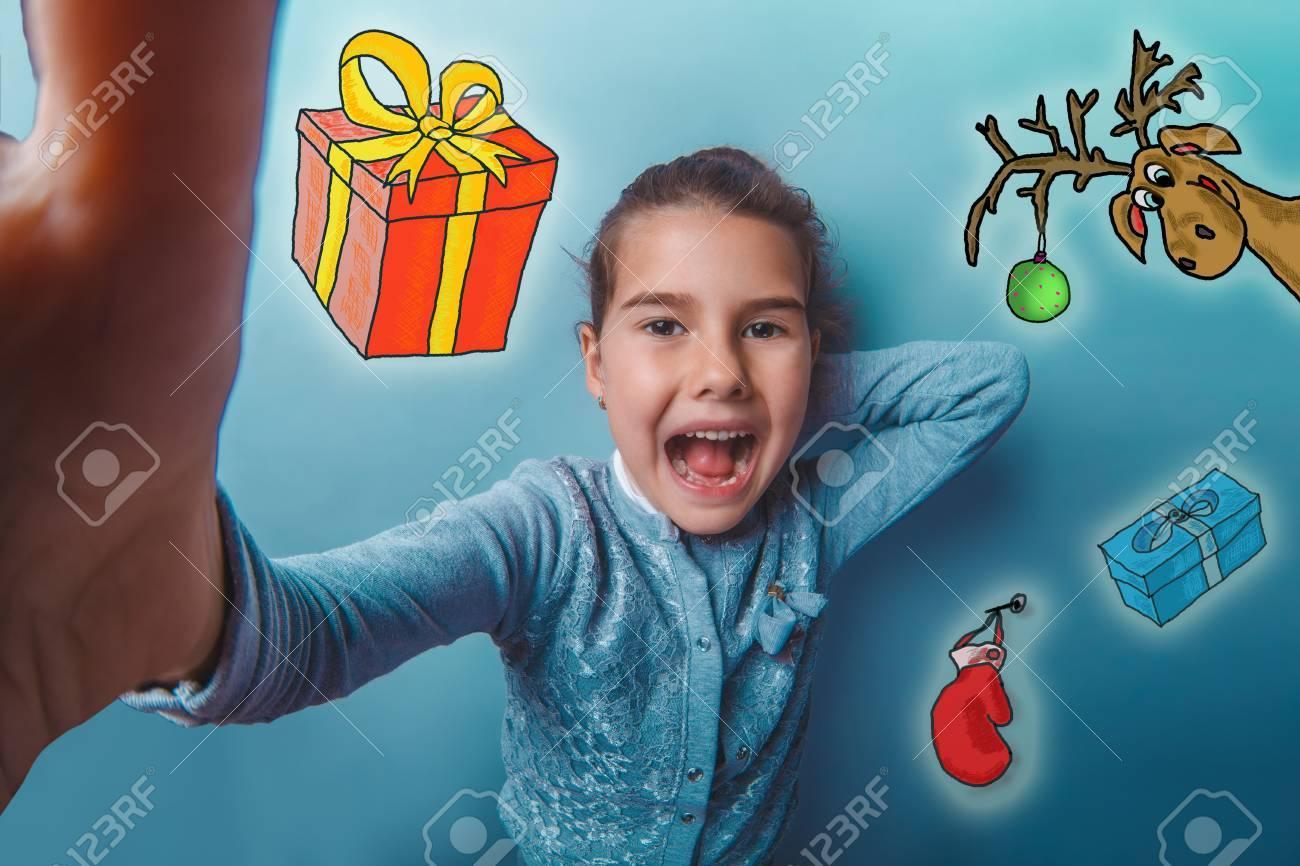 Weihnachten Mädchen Teenager Machen Selfie Foto Skizze Hirsch ...