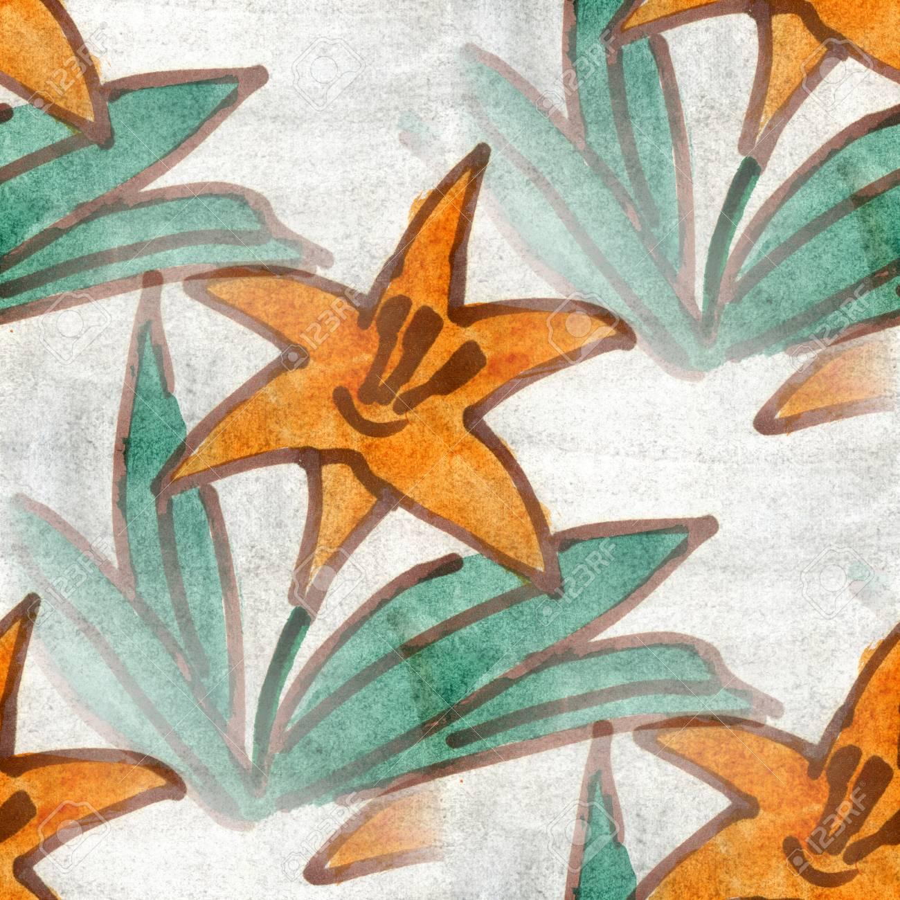 Fleurs Seamless Vert Orange Fond Snowdrop Main Papier Peint
