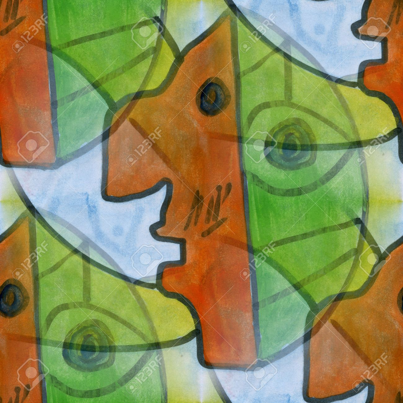 Art Brown Green Face Cubism Abstract Style Of Picasso Seamless