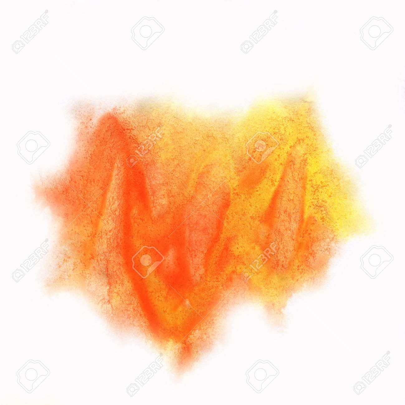 Color Splash Stroke Abstract Yellow Orange Red Watercolor Spot Macro  Watercolour Blotch Texture Isolated White Background