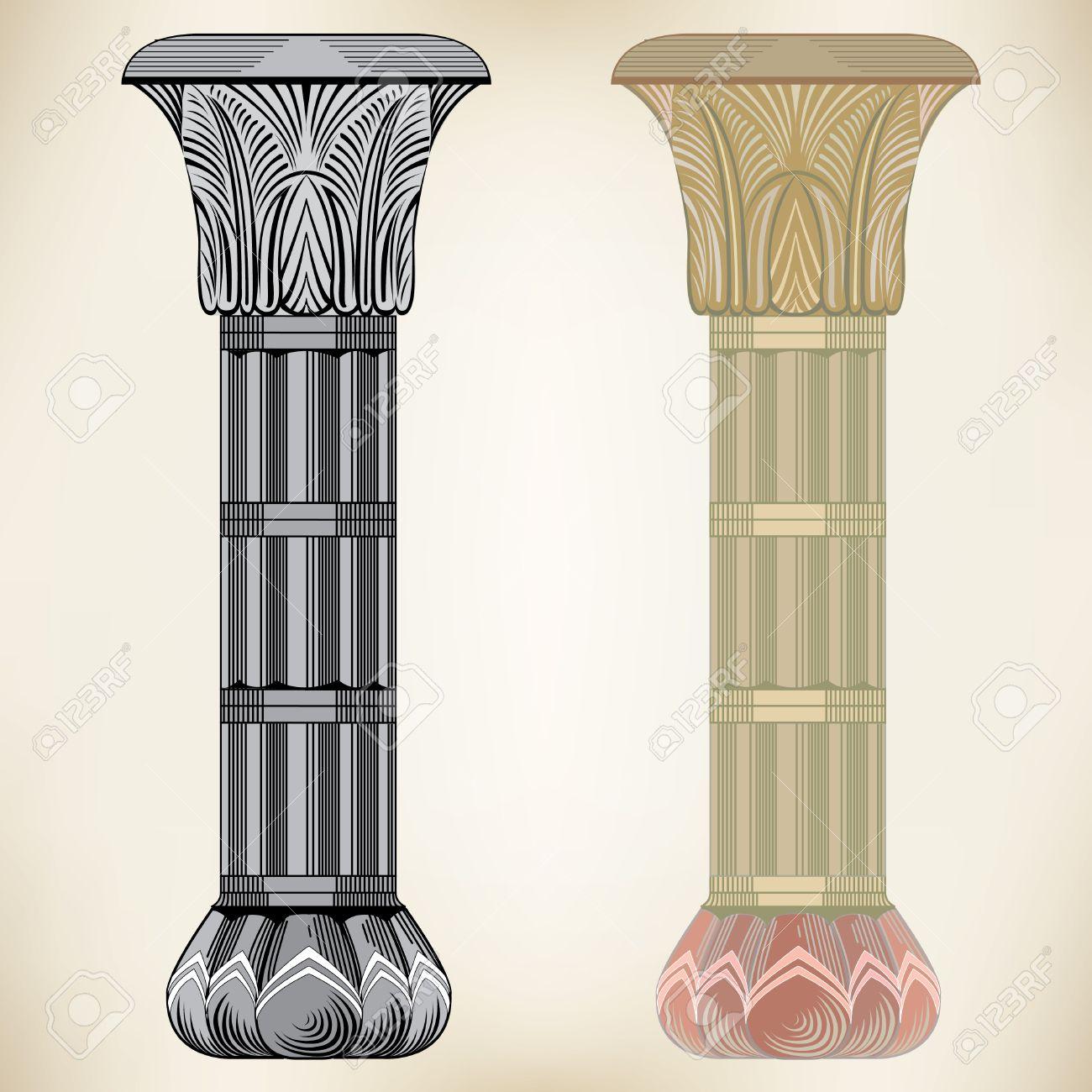 Gold Column Vector Greek Column Vector