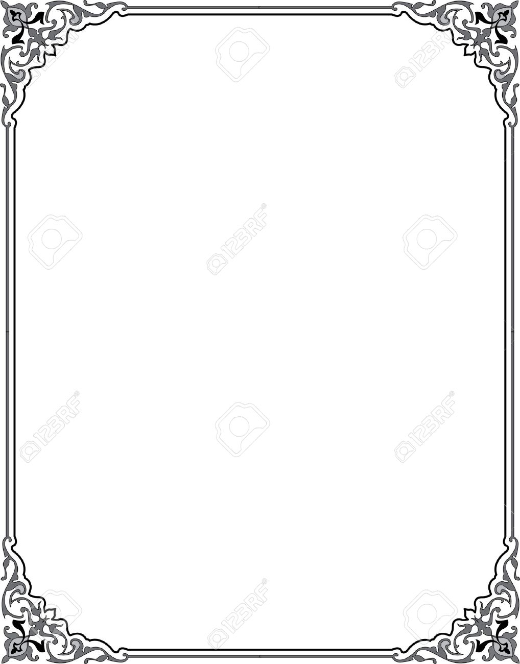 Damask Flourish Border Frame Royalty Free Cliparts, Vectors, And ...