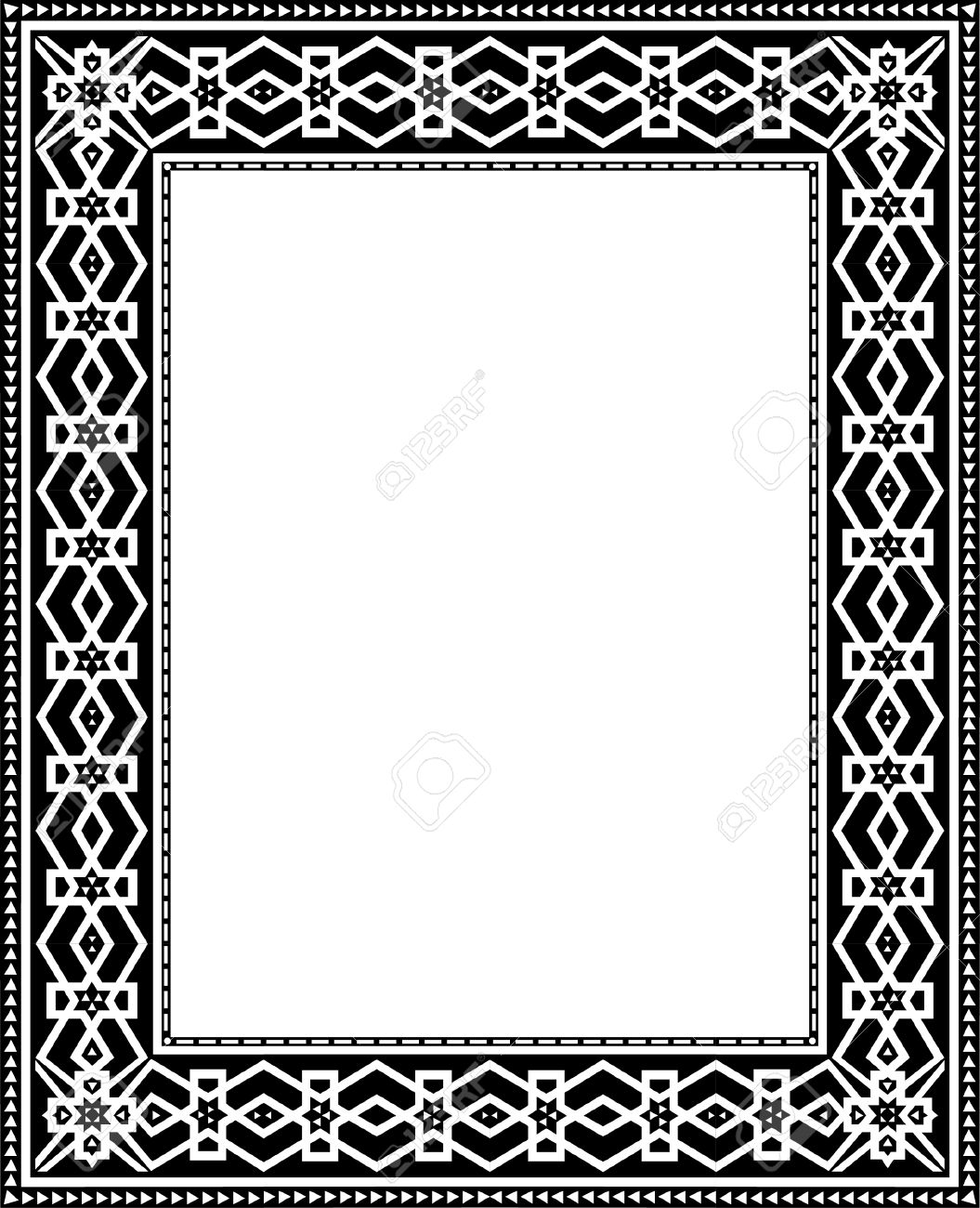Oriental Damask Border Frame Royalty Free Cliparts, Vectors, And ...